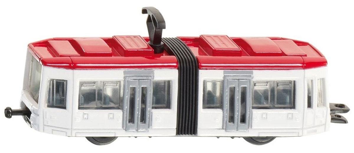 """Трамвай """"Siku"""" выполнен из металла с элементами из пластика. Секции трамвая соединены гармошкой, на крыше находится пантограф. Трамвай сзади оборудован сцепным устройством (можно соединить несколько трамваев друг с другом). Сквозь полупрозрачные стекла трамвая видны пассажирские сиденья и место водителя. Такая модель понравится не только ребенку, но и взрослому, и приятно удивит вас высочайшим качеством исполнения."""