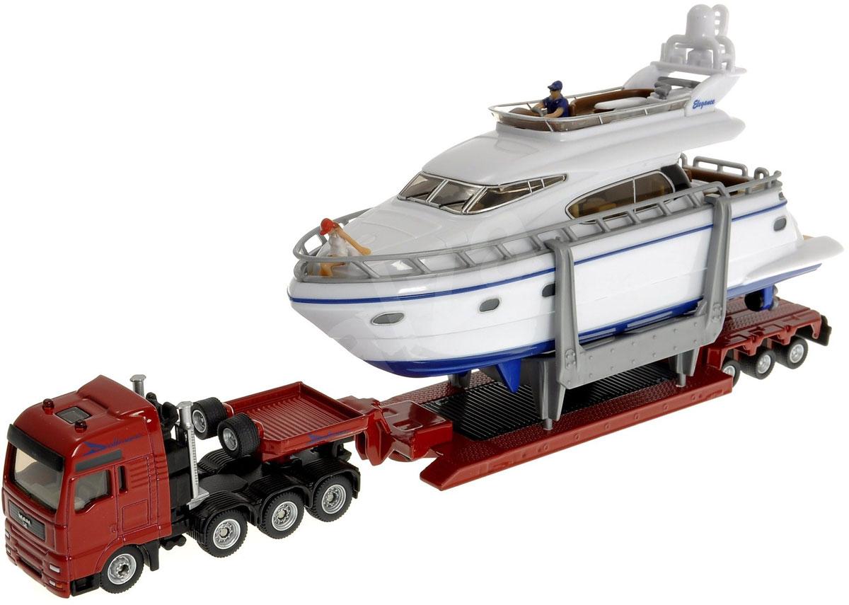 """Тягач MAN с яхтой """"Siku"""" представляет собой копию реальной техники в масштабе 1:87. Корпус тягача и прицепа выполнены из металла, лобовое и боковые стекла - из прозрачного пластика, прорезиненные колеса имеют свободный ход. Прицеп отцепляется от тягача, яхта снимается с прицепа. У яхты снимается верхняя палуба. Тщательно проработанные детали тягача с яхтой делают этот набор максимально реалистичным и интересным для игры."""