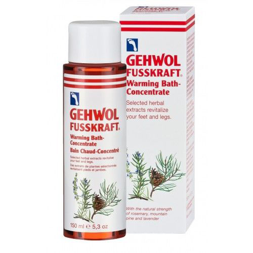 Gehwol Fusskraft Warming Bath Concentrate - Согревающая ванна для ног 150 млKM 0044Согревающая ванна Геволь (Fusskraft Warmebad Gehwol) - это концентрированный экстракт эфирных масел имбиря и красного перца. Она также содержит натуральные вытяжки из розмарина и комбинацию витамина E (профилактика старения кожи) и витаминов группы B (питание, уход).Все активные ингредиенты быстро проникают в кожу, и продолжительное время дают ощущение тепла. Средство также ухаживает за сухой кожей, делает её эластичной и мягкой.Проверено по дерматологическим показателям. Благоприятно применение при заболевании диабетом.Назначение:Устранение эффекта холодных ног.Профилактика простуды.