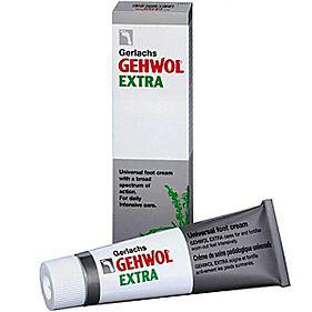 Gehwol Gerlachs Extra - Крем Экстра для ног 75 мл1*24105Крем Экстра Геволь (Gerlachs Gehwol Extra) интенсивно ухаживает и заботится о сильно натруженных ногах. Кожа стоп одновременно дезодорируется и дезинфицируется. Предупреждает появление чувства жжения в ногах, противодействует грибковым заболеваниям, устраняет неприятные запахи ног, смягчает ороговевшие места и мозоли, препятствует возникновению потертостей и мозолей, а также восстанавливает нормальное состояние потрескавшейся, сухой и шелушащейся кожи.Натуральные масла эвкалипта, розмарина, лаванды и тимьяна, присутствующие в Крем Экстра Геволь, оживляют ноги и увеличивают их жизненную силу. Он также усилит кровоснабжение и защити Вас от ощущения холодных и влажных ног.Назначение:Стимулирует кровообращение и защищает ноги от переохлаждения и влажности.Восстанавливает нормальное состояние потрескавшейся, сухой и шелушащейся кожи.Укрепляет кожу ног, защищает от потертостей.Предупреждает грибковые заболевания, образование мозолей и зуд между пальцами, дезодорирует в течение продолжительного времени.Активные компоненты: розмариновое масло, эвкалиптовое масло, лавандовое масло, масло лимона, масло тимьяна, ланолин, ментол, камфара, триклозан.