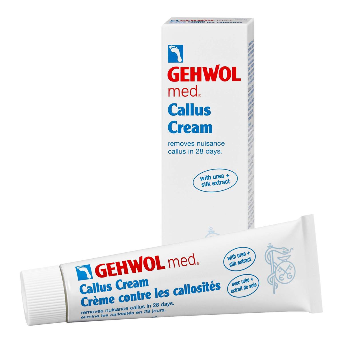 Gehwol Med Callus Cream - Крем для загрубевшей кожи, 75 мл1*41205Крем для загрубевшей кожи Геволь мед (Gehwol med Callus Cream) решает проблему гиперкератоза за 4 недели. Деликатно смягчает и удаляет загрубевшую кожу, благодаря уникальной рецептуре ослабляет межклеточные соединения плотных слоев кожи.В результате достигается быстрое смягчение загрубевшей кожи и ощутимые результаты уже после нескольких дней применения. Экстракт шелка увлажняет и разглаживает кожу.Регулярный уход за кожей ног в сочетании с Кремом Геволь Мед Гидро-баланс надежно защищает от повторного образования участков загрубевшей кожи.Уважаемые клиенты!Обращаем ваше внимание на возможные изменения в дизайне упаковки. Качественные характеристики товара остаются неизменными. Поставка осуществляется в зависимости от наличия на складе.
