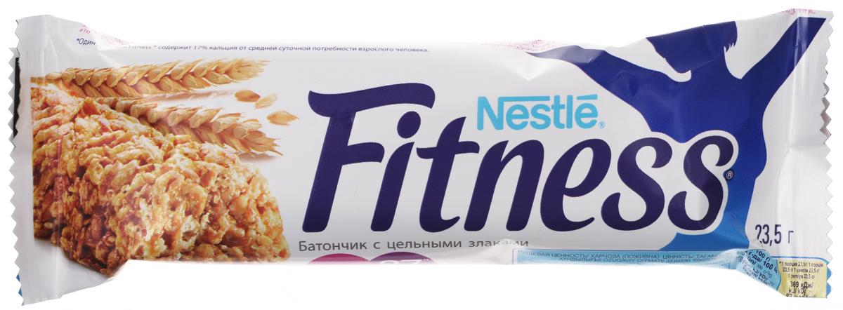 Nestle Fitness батончик с цельными злаками, 23,5 г0120710Батончик Nestle Fitness (Нестле Фитнес) с цельными злаками - полезный перекус без вреда для вашей фигуры!Батончик Fitness содержит много клетчатки и мало жира. Клетчатка в цельных злаках регулирует пищеварение, способствуя поддержанию оптимального веса тела (при условии сбалансированного питания и регулярных физических активностей). Сложные углеводы перевариваются медленнее и позволяют сохранять чувство сытости дольше.Обогащен витаминами D, B2, B6, кальцием и железом.