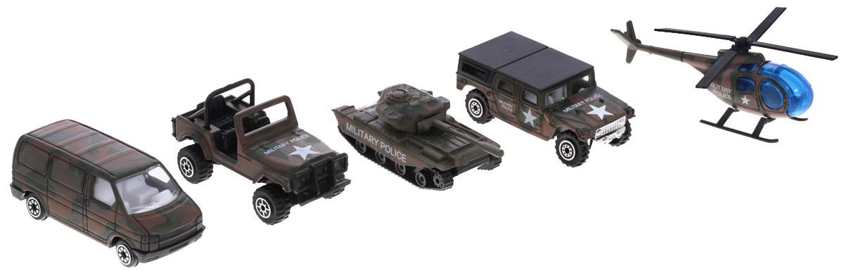 """Игровой набор Welly """"Военно-полицейская команда"""" представляет собой 5 реалистичных моделей, выполненных в виде точных копий техники военной полиции. Набор включает в себя 3 разные машинки, танк и вертолет. Модели отличаются высоким качеством исполнения и детализации. Корпус моделей выполнен из металла, стекла изготовлены из прочного прозрачного пластика. Колесики машинки, башня танка и пропеллер вертолета вращаются. Ваш ребенок часами будет играть с набором, придумывая различные истории. Порадуйте его таким замечательным подарком!"""