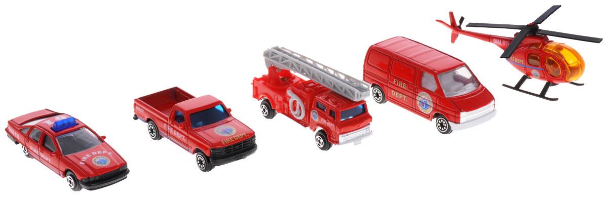 """Игровой набор Welly """"Пожарная команда"""" представляет собой 5 реалистичных моделей, выполненных в виде точных копий пожарной техники. Набор включает в себя 4 разные машинки и вертолет. Модели отличаются высоким качеством исполнения и детализации. Корпус моделей выполнен из металла, стекла изготовлены из прочного прозрачного пластика. Колесики машинки и пропеллер вертолета вращаются. Лестница пожарной машины раздвигается. Ваш ребенок часами будет играть с набором, придумывая различные истории. Порадуйте его таким замечательным подарком!"""