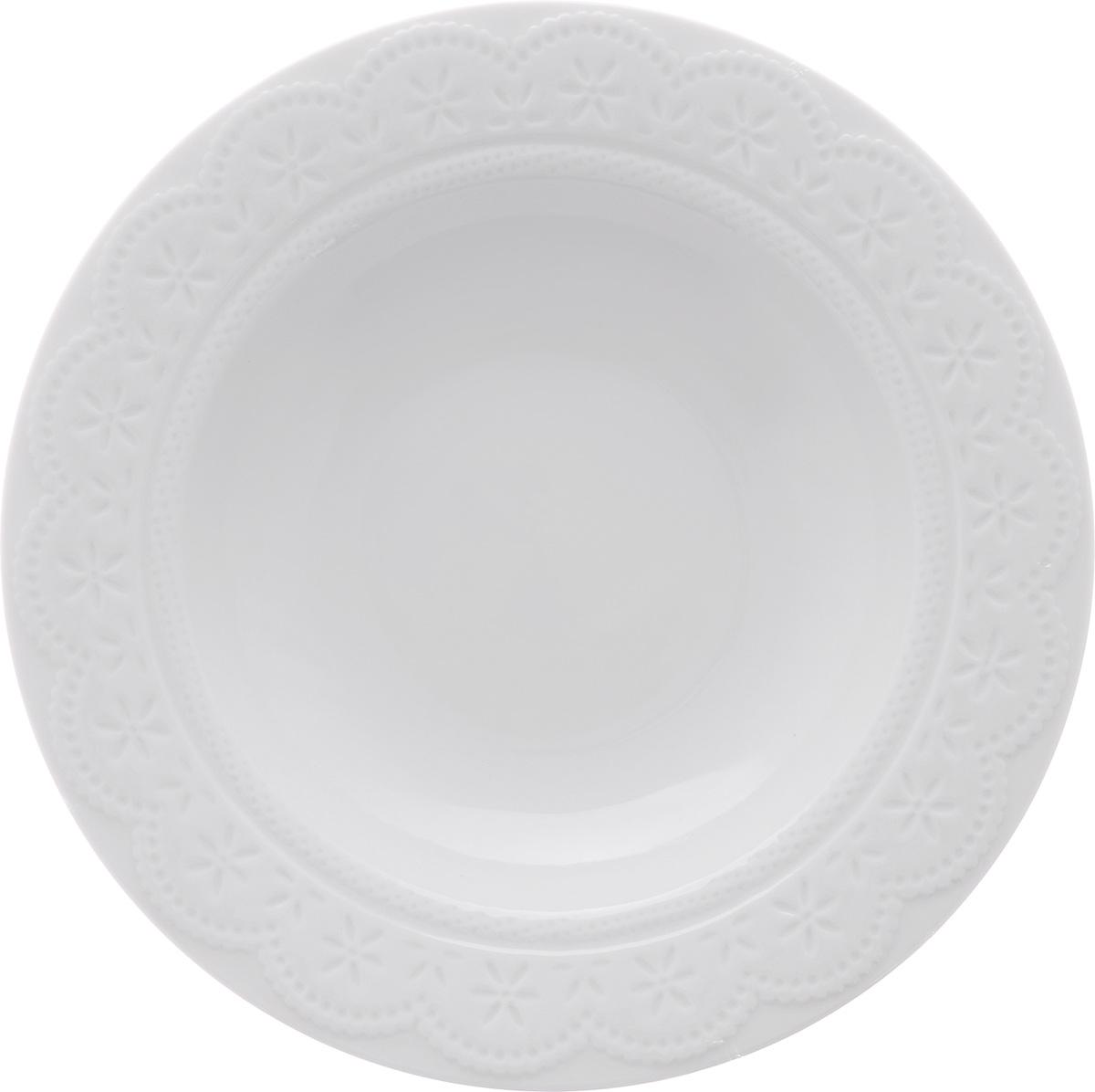 Тарелка суповая Walmer Charlotte, цвет: белый, диаметр 22 см115510Суповая тарелка Walmer Charlotte, выполненная из высококачественного фарфора, декорирована рельефным орнаментом. Изящный дизайн придется по вкусу и ценителям классики, и тем, кто предпочитает утонченность. Суповая тарелка Walmer Charlotte, идеально подойдет для сервировки стола и станет отличным подарком к любому празднику.Можно использовать в микроволновой печи и мыть в посудомоечных машинах.