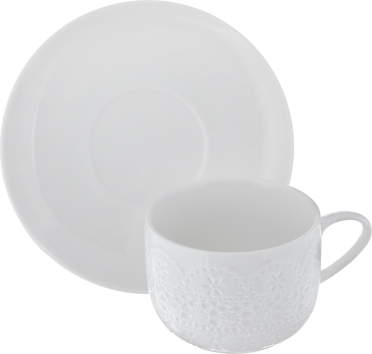 Чайная пара Walmer Charlotte, цвет: белый, 2 предметаVT-1520(SR)Чайная пара Walmer Charlotte состоит из чашки и блюдца, изготовленных из высококачественного фарфора и декорированных оригинальным рельефом.Чайная пара украсит ваш кухонный стол, а также станет замечательным подарком к любому празднику.Не применять абразивные чистящие средства. Объем чашки: 250 мл.Диаметр чашки по верхнему краю: 8,5 см.Диаметр основания: 5,5 см.Высота чашки: 6,5 см.Диаметр блюдца: 15,5 см.