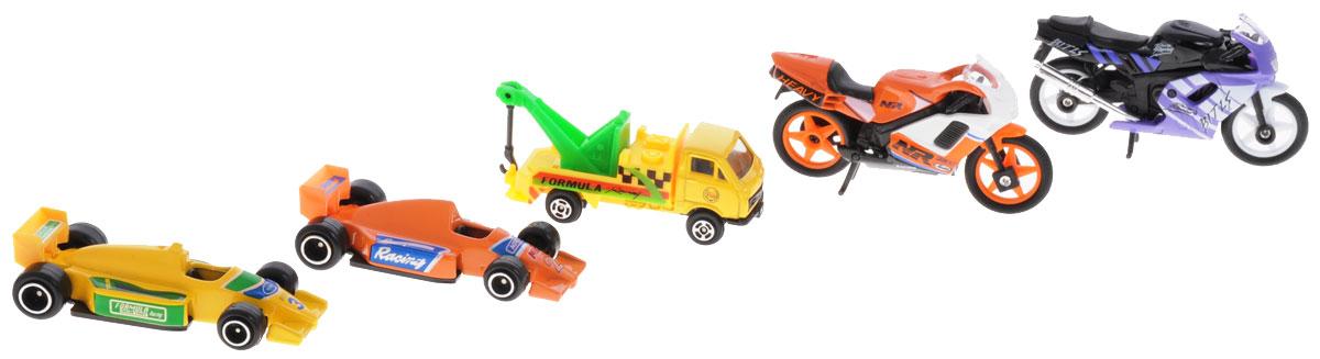 """Набор машинок """"Team Power"""" представляет собой 5 реалистичных моделей, выполненные в виде точных копий гоночной техники. Набор включает в себя 2 мотоцикла, 2 болида и машину технической службы. Модели отличаются высоким качеством исполнения и детализации. Корпус моделей выполнен из металла, стекла изготовлены из прочного прозрачного пластика. Колесики машинок и мотоциклов вращаются. Ваш ребенок часами будет играть с набором, придумывая различные истории. Порадуйте его таким замечательным подарком!"""