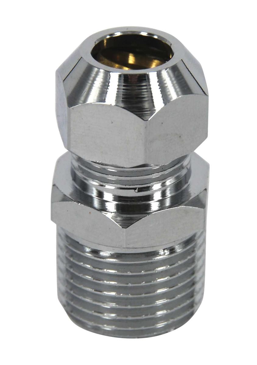Ниппель-переходник усиленный 1/2х3/8, резьба наружная, с цангой 10 мм, хромированный, Jif, 2 штRWH-V30-REНиппель-переходник (бочонок) усиленный 1/2х3/8, резьба наружная, с цангой 10 мм, хромированный, (2 шт.) предназначен для подключения жесткой подводки к смесителю. Соединение: наружная резьба - цангаПокрытие - хром.