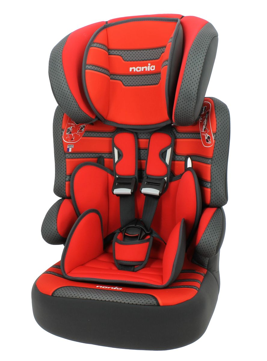 Nania Автокресло Beline SP Plus Boomer Carmin от 9 до 36 кгCA-3505Автокресло Nania Beline SP Plus - это универсальное автокресло группы 1/2/3 (от 9 до 36 кг), разработано для детей от 9 месяцев до 12 лет. Автокресло изготовлено из ударопрочного пластика, устанавливается по ходу движения с помощью штатных ремней безопасности. Ребенок фиксируется с помощью внутренних пятиточечных ремней безопасности. Автокресло имеет усиленную боковую защиту, подголовник также рассеивает энергию при столкновениях. Подголовник регулируется в 6 положениях по высоте. При достижении ребенком необходимого возраста, спинку автокресла можно отстегнуть и использовать только бустер. Кресло имеет эргономичную форму, и ребенок будет чувствовать себя комфортно даже во время долгих поездок. Чехол автокресла выполнен из мягких и приятных на ощупь тканей, его можно стирать при температуре 30°С в режиме деликатной стирки.