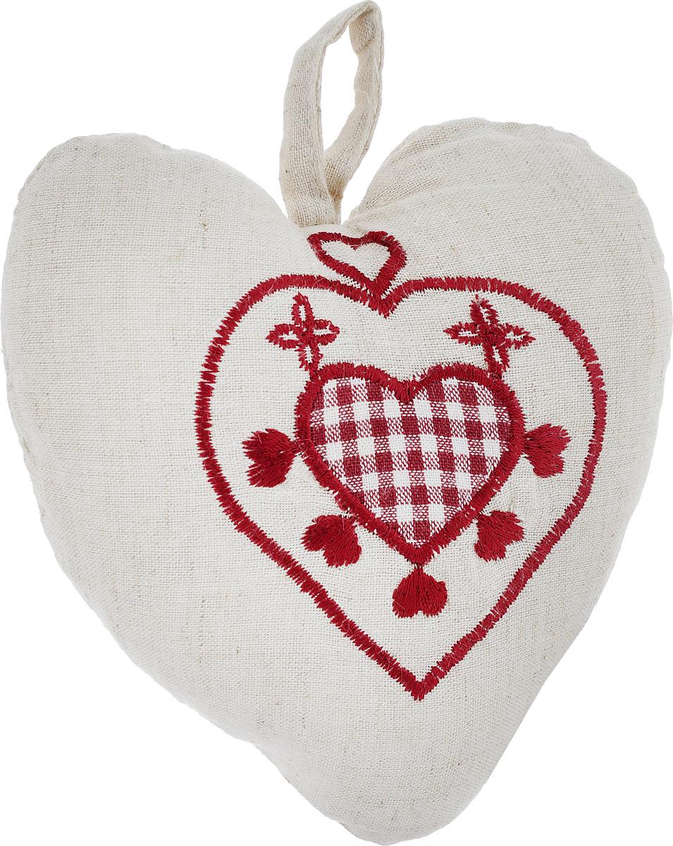 Подушка декоративная Schaefer Сердце, 16 х 13 см3121044620Подушка Schaefer Сердце станет отличным украшением интерьера. Изделие выполнено в форме сердца из хлопка с добавлением льна и оснащено петелькой для подвешивания. Лицевая сторона подушки декорирована вышивкой. Внутри - мягкий наполнитель. Подушка Schaefer Сердце - это не только стильный предмет декора, но и хороший подарок вашим друзьям и близким, который подарит только положительные эмоции.