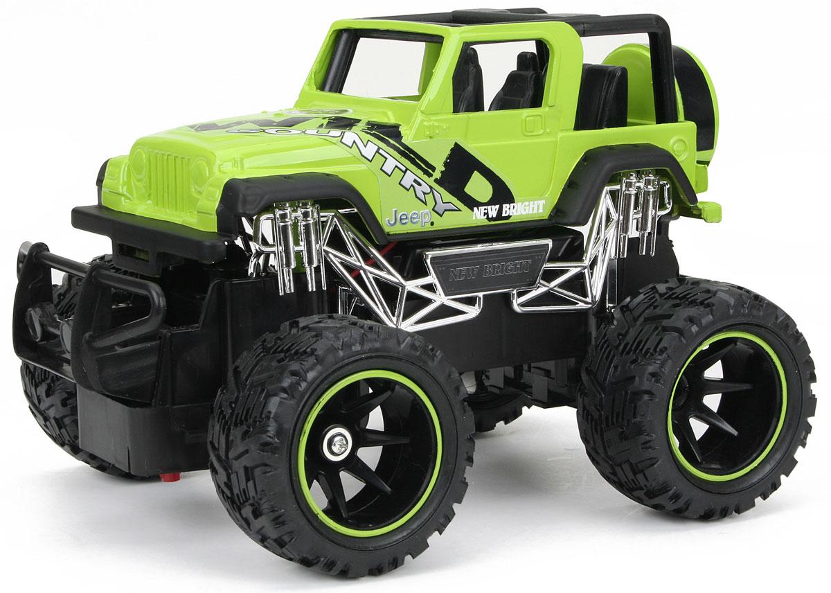 """Культовый американский автомобиль Jeep Wrangler привлечет внимание ребенка, взрослого и понравится любому, кто увлекается автомобилями. Маневренная и реалистичная уменьшенная копия New Bright """"Jeep Wrangler"""" выполнена в точной детализации с настоящим автомобилем в масштабе 1:24. Управление машинкой происходит с помощью пульта. Машинка двигается вперед и назад, поворачивает направо и налево. Пульт управления работает на частоте 40 MHz, а радиус его действия составляет 25-30 метров. Колеса игрушки прорезинены и обеспечивают плавный ход, машинка не портит напольное покрытие. Радиоуправляемые игрушки способствуют развитию координации движений, моторики и ловкости. Ваш ребенок часами будет играть с моделью, придумывая различные истории и устраивая соревнования. Порадуйте его таким замечательным подарком! Для работы игрушки необходимы 3 батарейки типа АА (не входят в комплект). Для работы пульта управления необходимы 2 батарейки типа АА (не входят в комплект)."""