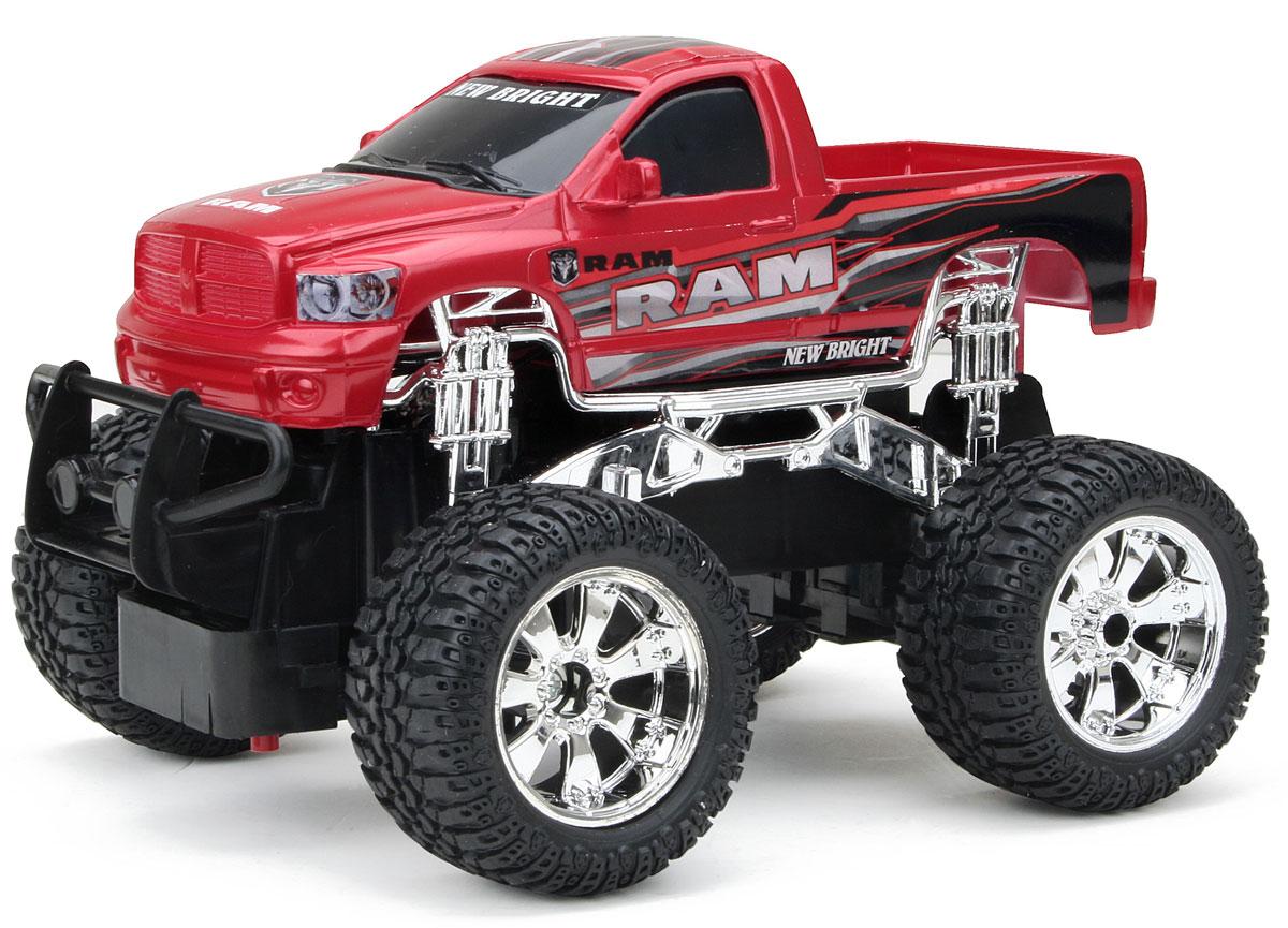 """Радиоуправляемая модель New Bright """"Ram"""" обязательно привлечет внимание вашего ребенка и станет его любимой игрушкой. Это авто обладает неповторимым провокационным стилем и спортивным характером. Уменьшенная копия реального автомобиля выполнена в точной детализации в масштабе 1:24. Управление машинкой происходит с помощью пульта. Пульт управления работает на частоте 27 MHz. Возможные движения: вперед, назад, направо, налево. Потрясающая маневренность, динамика и покладистость - отличительные качества этой модели. Большие колеса машины прорезинены и обеспечивают плавный ход, машинка не портит напольное покрытие. Радиоуправляемые игрушки способствуют развитию координации движений, моторики и ловкости. Модель работает от 3 батареек типа АА (не входят в комплект). Пульт управления работает от 2 батареек типа АА (не входят в комплект)."""