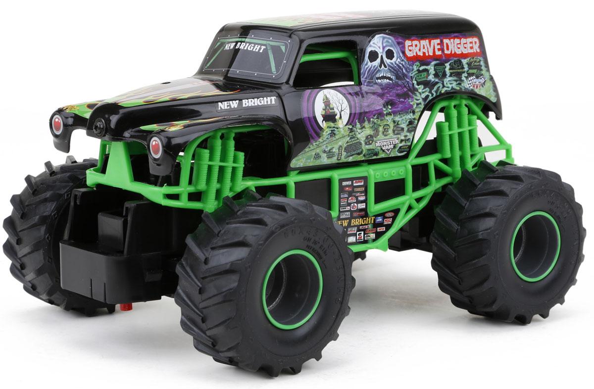 New Bright Радиоуправляемая модель Grave Digger цвет зеленый черный масштаб 1:24