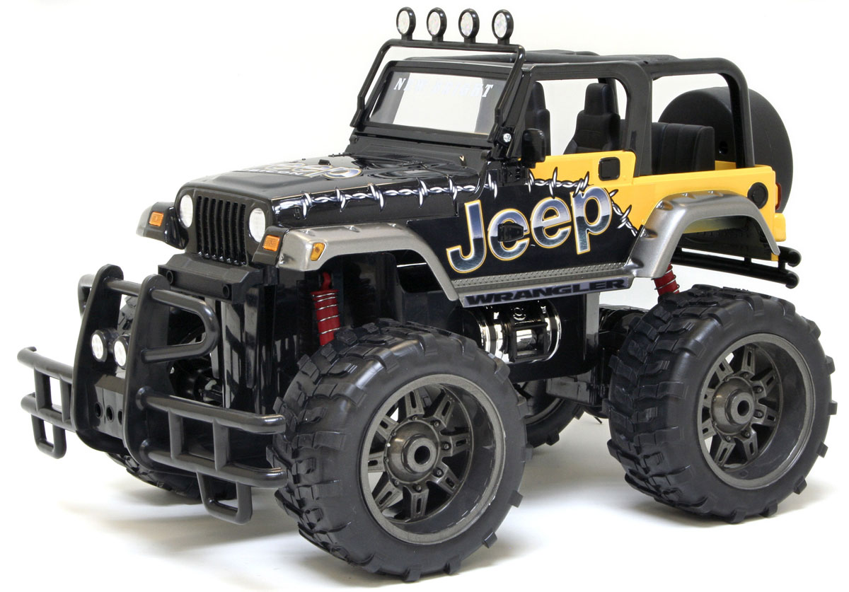 """Радиоуправляемая модель New Bright """"Jeep Wrangler Rubicon"""" привлечет к себе внимание не только детей, но и взрослых. Внедорожник оснащен полным приводом и имеет пружинную подвеску. Модель представлена в масштабе 1:10 и в точности воспроизводит все детали внешнего облика реального автомобиля. А серьезные габариты придают реалистичность в управлении. Управление авто происходит с помощью пульта. Машина двигается вперед и назад, поворачивает направо и налево. Пульт управления работает на частоте 40 MHz. Колеса игрушки прорезинены и обеспечивают плавный ход, машинка не портит напольное покрытие. Радиоуправляемые игрушки способствуют развитию координации движений, моторики и ловкости. Порадуйте свое чадо таким замечательным подарком! Машина работает от аккумулятора - 9,6V (входит в комплект), пульт управления работает от 2 батареек типа АА (имеются в наборе). Зарядное устройство для зарядки аккумулятора также входит в комплект. Зарядка ..."""