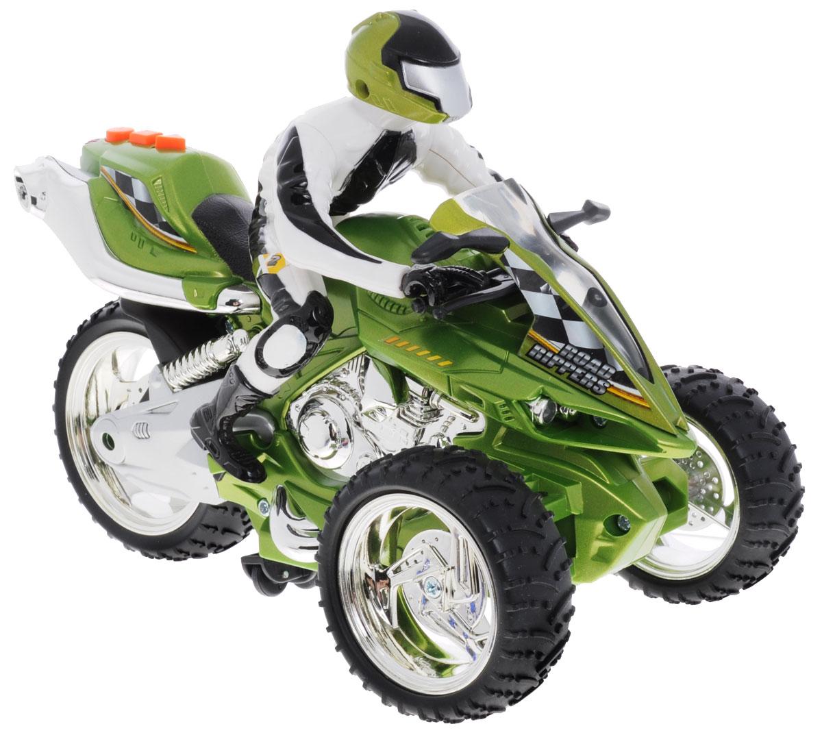 """Трицикл на радиоуправлении """"Road Rippers"""" станет отличным подарком для ребенка! Выполненный в виде мощного трехколесного мотоцикла, он просто поражает воображение! Трицикл может двигаться как вперед и назад, так вправо и влево, и даже разворачиваться на 360°! Два варианта управления: с пульта дистанционного управления и с помощью кнопок на самой игрушке. При нажатии на кнопки трицикл устремляется вперед, приподнимается на два передних колеса, воспроизводит зажигательную музыку. Работа трицикла сопровождается свечением передних фар и стоп-сигналов. Имеется демо-режим. Пульт управления работает на частоте 27 MHz. Для работы игрушки необходимы 4 батарейки типа ААА (товар комплектуется демонстрационными). Для работы пульта управления необходимы 3 батарейки типа ААА (не входят в комплект)."""