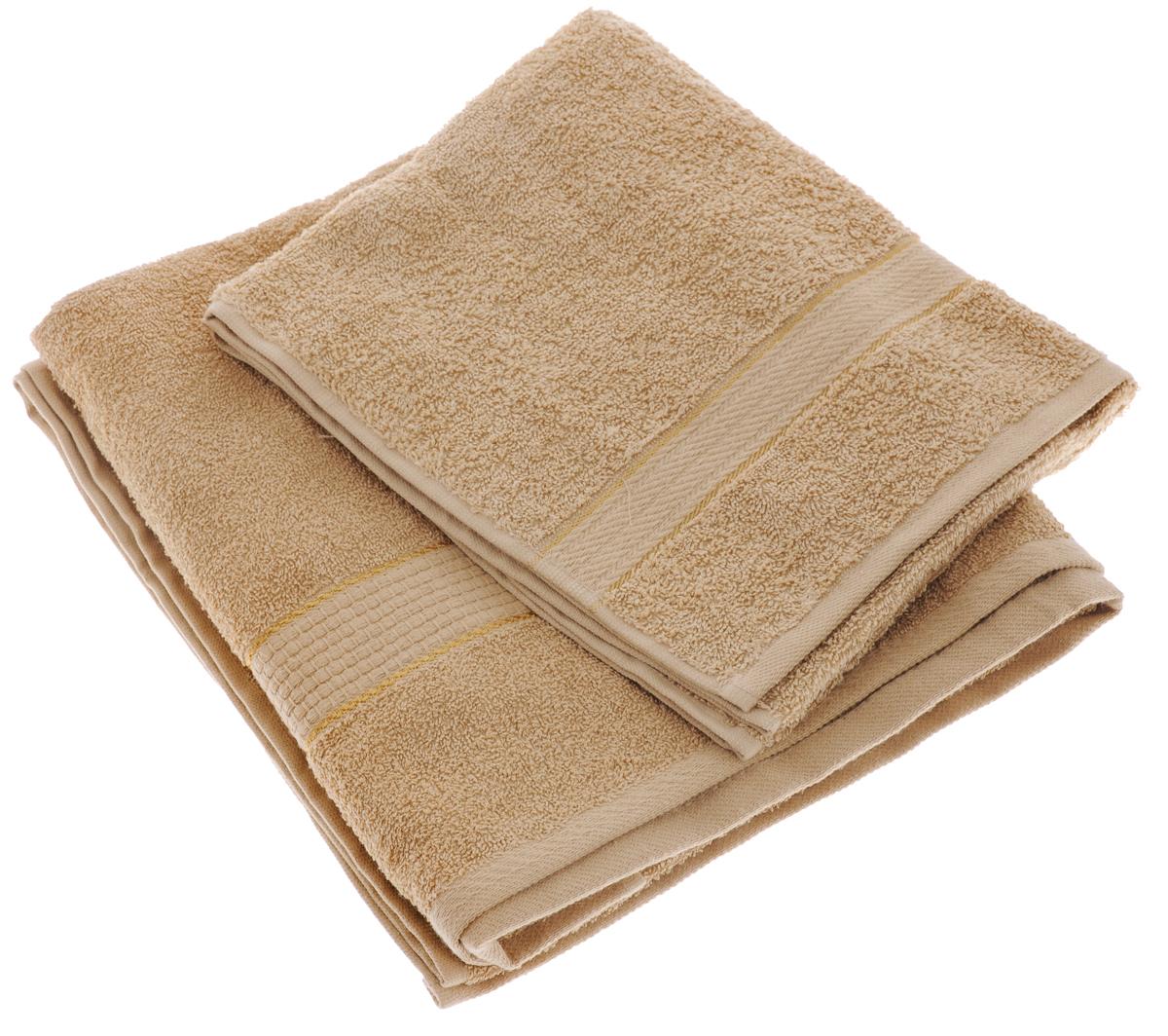 Набор махровых полотенец Aisha Home Textile, цвет: светло-коричневый, 2 шт. УзТ-НПМ-10219201Набор Aisha Home Textile состоит из двух махровых полотенец разного размера. В состав входит только натуральное волокно - 100% хлопок. Лаконичные бордюры подойдут для любого интерьера ванной комнаты. Полотенца прекрасно впитывают влагу и быстро сохнут. При соблюдении рекомендаций по уходу не линяют и не теряют форму даже после многократных стирок.Комплектация: 2 шт.
