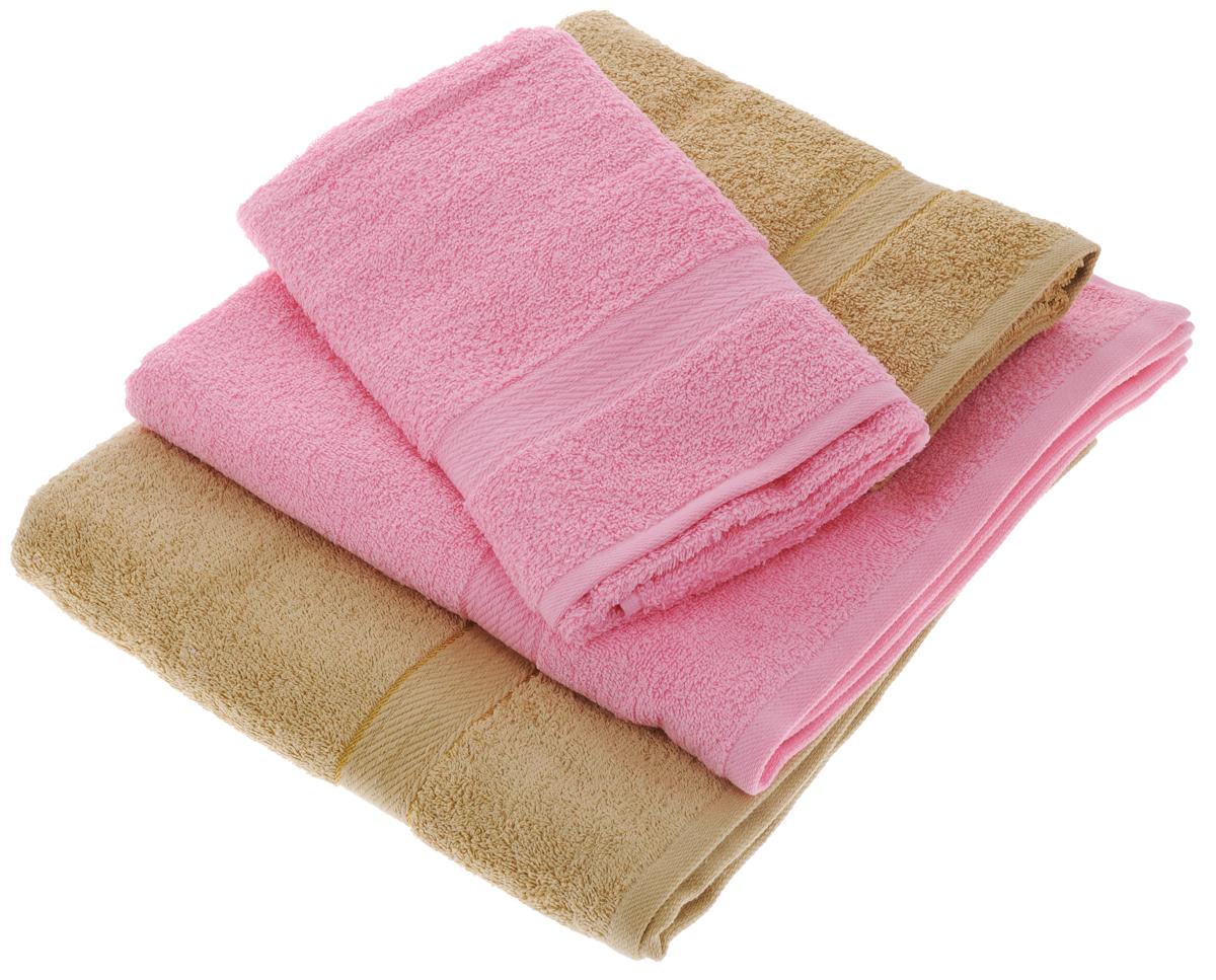 Набор махровых полотенец Aisha Home Textile, цвет: светло-коричневый, розовый, 4 штC0042411Набор Aisha Home Textile состоитиз двух полотенец, размером 50 х 90 см, и двух банных, размером 70 х 140 см.Полотенца выполнены изнатурального 100% хлопкаи махровой ткани.Изделия отлично впитывают влагу,быстро сохнут, сохраняют яркостьцвета и не теряют формы дажепосле многократных стирок.Полотенца Aisha Home Textile оченьпрактичны и неприхотливы в уходе. Комплектация: 4 шт.