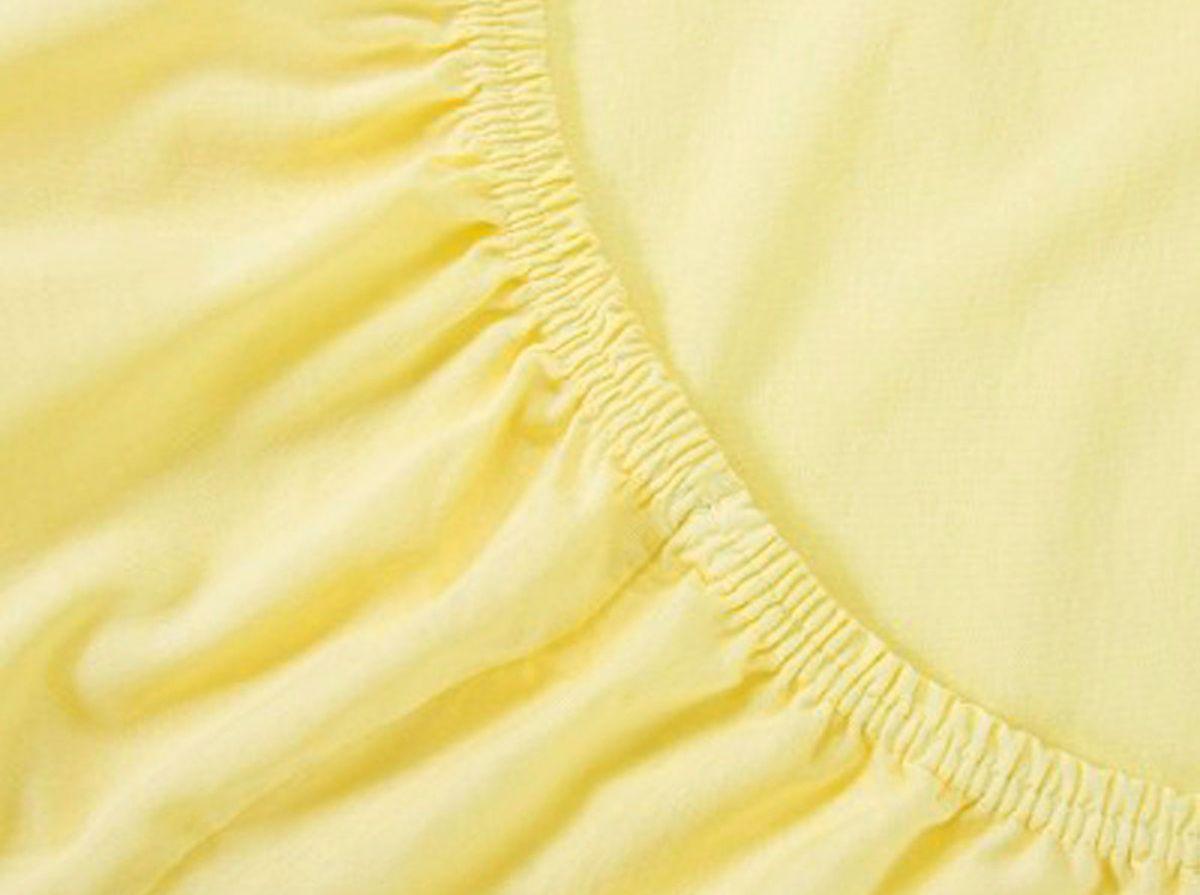Простыня на резинке Хлопковый Край, цвет: желтый, размер 140 х 200 смЭ-ПР-04-36Бренд: Хлопковый Край. Чебоксары, Россия Коллекция: Радуга желаний Материал: ТРИКОТАЖ (кулирка)-100% хлопок; Плотность 125 гр/м2- нежное, гладкое и прочное; Активное крашение - простынь не теряет цвет; Гиппоалергенно и безопасно даже для детей; Стойкое к стиркам - не образуются катышки Высота бортика 20 см - подходит для 99% матрасов; Резинка по всему периметру - идеально садится на матрас; Сертификат ЕАС и знак Eco Friendly