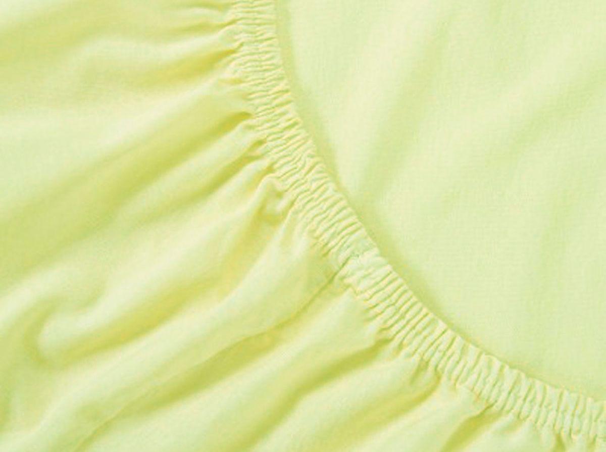 Простыня на резинке Хлопковый Край, цвет: лимон, 160 х 200 смЭ-ПР-02-35Простыня на резинке Хлопковый Край изготовлена из натурального хлопка. Она обладает высокой плотностью, необычайной мягкостью и шелковистостью. Простыня из такого материала выдержит большое количество стирок и не потеряет цвет. Простыня прошита резинкой по всему периметру, что обеспечивает более комфортный отдых, так как она прочно удерживается на матрасе и избавляет от необходимости часто поправлять простыню. Простыня на резинке Хлопковый Край абсолютно безопасна для самых маленьких членов семьи.Выбрав простыню нужной вам расцветки, вы можете легко комбинировать ее с различным постельным бельем.Подходит для матрасов высотой до 25 см.