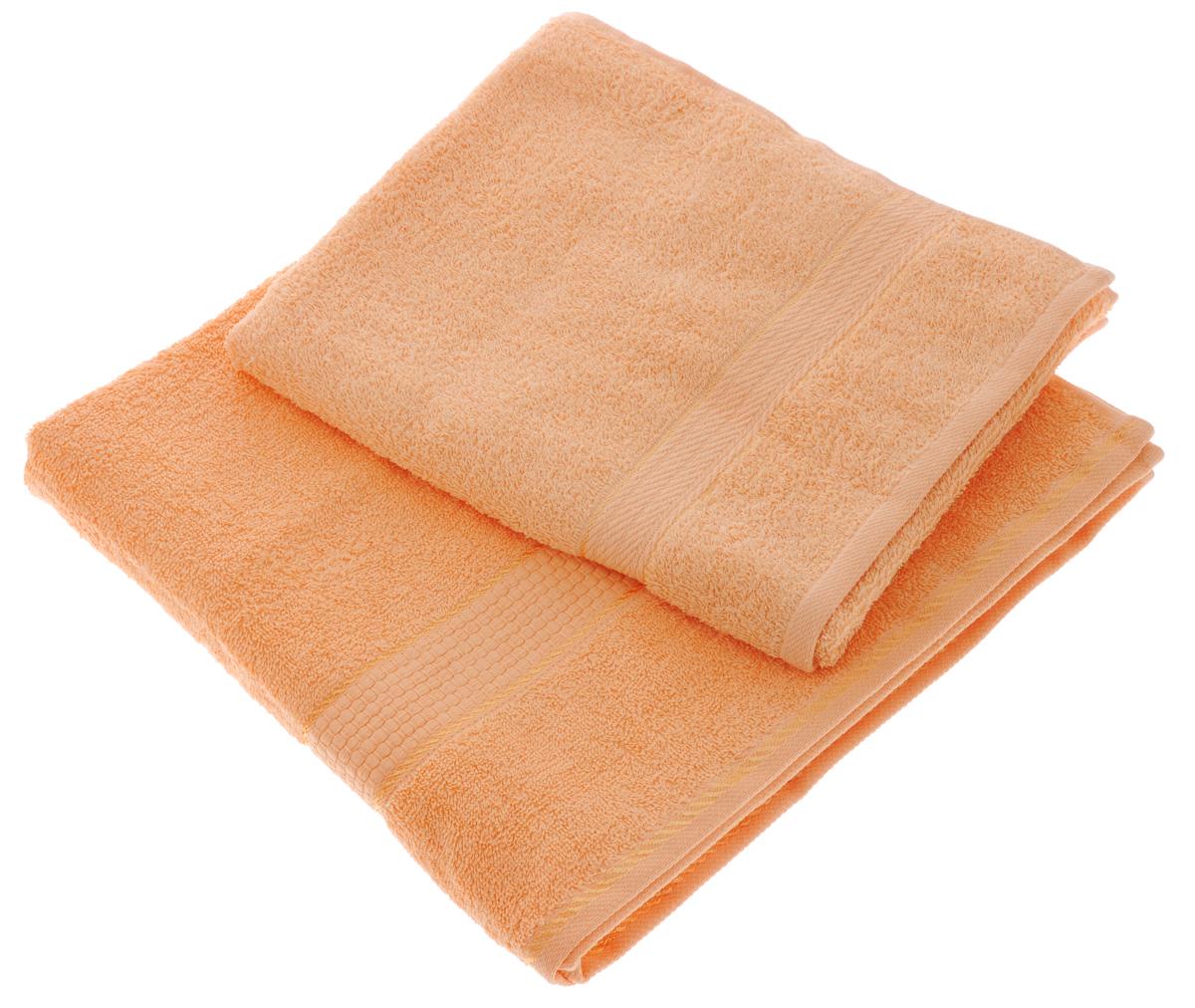 Набор махровых полотенец Aisha Home Textile, цвет: персиковый, 2 шт. УзТ-НПМ-10268/5/1Набор Aisha Home Textile состоит из двух махровых полотенец разного размера. В состав входит только натуральное волокно - 100% хлопок. Лаконичные бордюры подойдут для любого интерьера ванной комнаты. Полотенца прекрасно впитывают влагу и быстро сохнут. При соблюдении рекомендаций по уходу не линяют и не теряют форму даже после многократных стирок.Комплектация: 2 шт.