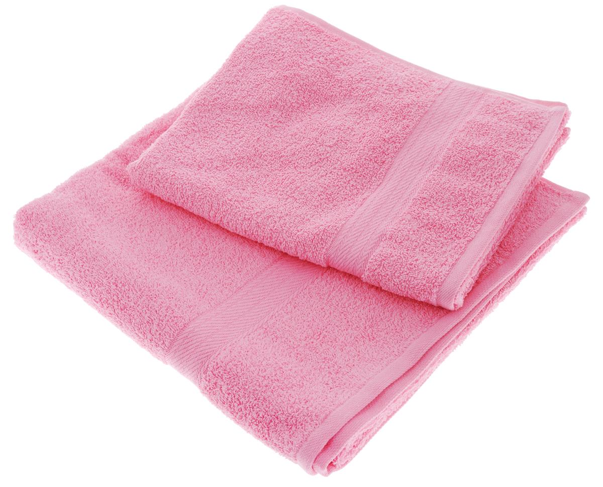 Набор махровых полотенец Aisha Home Textile, цвет: розовый, 2 шт. УзТ-НПМ-1021092019Набор Aisha Home Textile состоит из двух махровых полотенец разного размера. В состав входит только натуральное волокно - 100% хлопок. Лаконичные бордюры подойдут для любого интерьера ванной комнаты. Полотенца прекрасно впитывают влагу и быстро сохнут. При соблюдении рекомендаций по уходу не линяют и не теряют форму даже после многократных стирок.Комплектация: 2 шт.