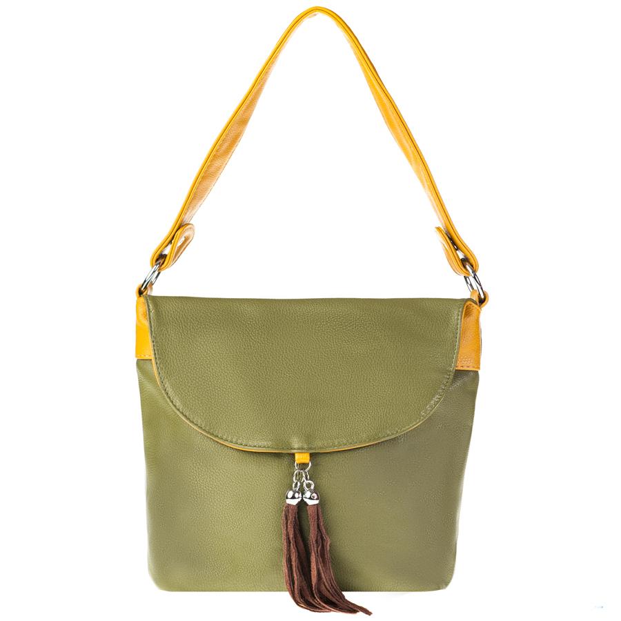 Сумка женская Orsa Oro, цвет: зеленый, желтый. D-104/1671069с-2Стильная женская сумка Orsa Oro выполнена из искусственной кожи с зернистой фактурой, декорирована оригинальной подвеской.Изделие содержит одно отделение, которое закрывается на молнию. Внутри расположены четыре накладных кармашка для мелочей, один из которых закрывается на молнию, и врезной карман на молнии. Снаружи, на лицевой стороне изделия, расположен клапан, под которым размещен врезной карман на молнии. Задняя сторона сумки также дополнена клапаном и врезным карманом на молнии. Сумка оснащена практичной съемной лямкой и съемным плечевым ремнем регулируемой длины.Оригинальный аксессуар позволит вам завершить образ и быть неотразимой.