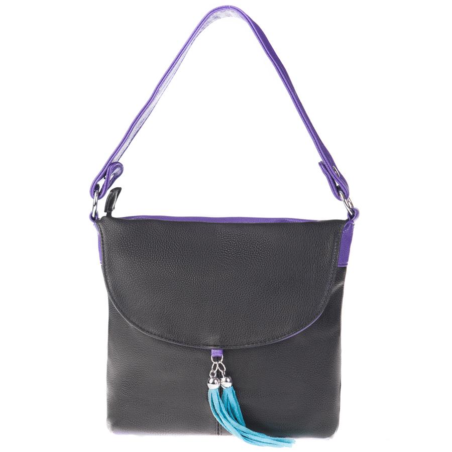 Сумка женская Orsa Oro, цвет: черный, фиолетовый. D-104/51ML597BUL/DСтильная женская сумка Orsa Oro выполнена из искусственной кожи с зернистой фактурой, декорирована оригинальной подвеской.Изделие содержит одно отделение, которое закрывается на молнию. Внутри расположены четыре накладных кармашка для мелочей, один из которых закрывается на молнию, и врезной карман на молнии. Снаружи, на лицевой стороне изделия, расположен клапан, под которым размещен врезной карман на молнии. Задняя сторона сумки также дополнена клапаном и врезным карманом на молнии. Сумка оснащена практичной съемной лямкой и съемным плечевым ремнем регулируемой длины.Оригинальный аксессуар позволит вам завершить образ и быть неотразимой.