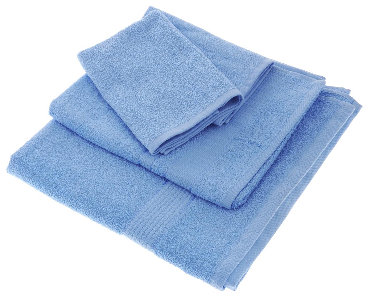 Набор махровых полотенец Aisha Home Textile, цвет: голубой, 4 шт. УзТ-НПБ-10168/5/1Набор Aisha Home Textile состоит из четырех махровых полотенец разного размера. Полотенца выполнены из натурального 100% хлопка и махровой ткани. Изделия отлично впитывают влагу, быстро сохнут, сохраняют яркость цвета и не теряют формы даже после многократных стирок.Полотенца Aisha Home Textile очень практичны и неприхотливы в уходе. Комплектация: 4 шт.