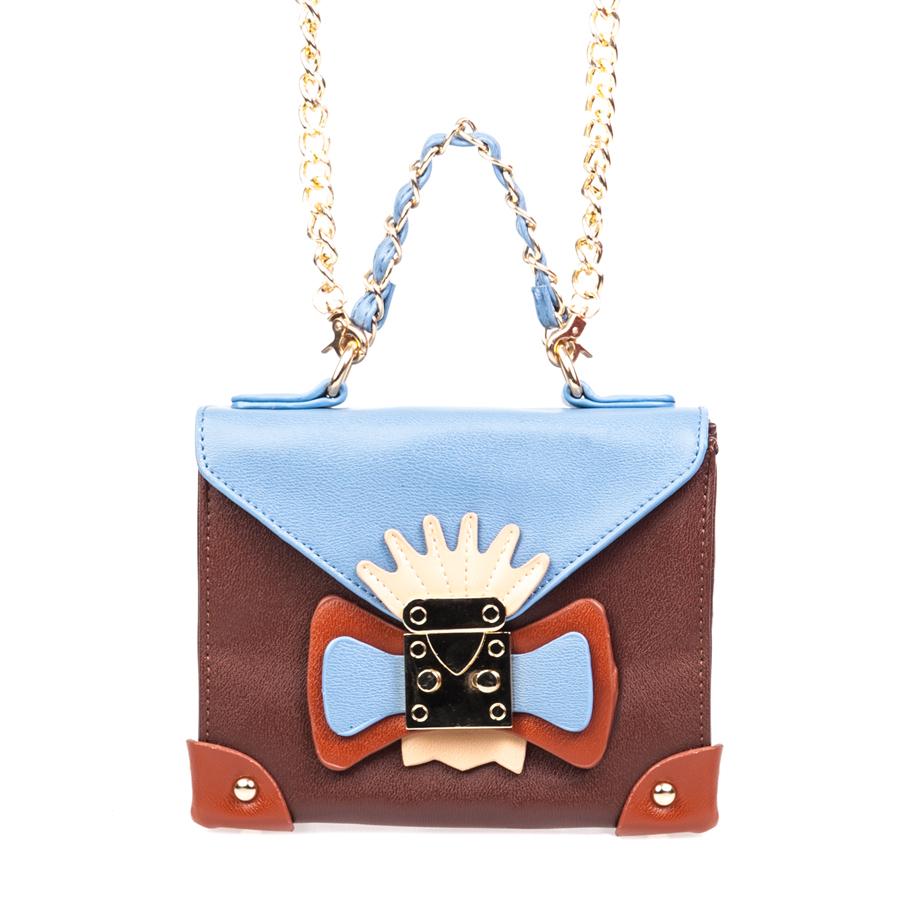 Сумка женская Orsa Oro, цвет: коричневый, голубой. D-130/510130-11Стильная женская сумка Orsa Oro выполнена из искусственной кожи, оформлена декоративным элементом и металлической фурнитурой.Изделие содержит одно отделение, которое закрывается на молнию и дополнительно на клапан с защелкой. Внутри расположены: два накладных кармашка для мелочей и врезной карман на молнии. На задней стороне изделия расположен накладной кармашек. Сумка оснащена съемным плечевым ремнем-цепочкой и аккуратной ручкой. Дно сумки дополнено металлическими ножками.Оригинальный аксессуар позволит вам завершить образ и быть неотразимой.
