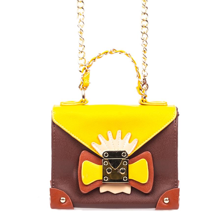 Сумка женская Orsa Oro, цвет: коричневый, желтый. D-130/6S76245Стильная женская сумка Orsa Oro выполнена из искусственной кожи, оформлена декоративным элементом и металлической фурнитурой.Изделие содержит одно отделение, которое закрывается на молнию и дополнительно на клапан с защелкой. Внутри расположены: два накладных кармашка для мелочей и врезной карман на молнии. На задней стороне изделия расположен накладной кармашек. Сумка оснащена съемным плечевым ремнем-цепочкой и аккуратной ручкой. Дно сумки дополнено металлическими ножками.Оригинальный аксессуар позволит вам завершить образ и быть неотразимой.