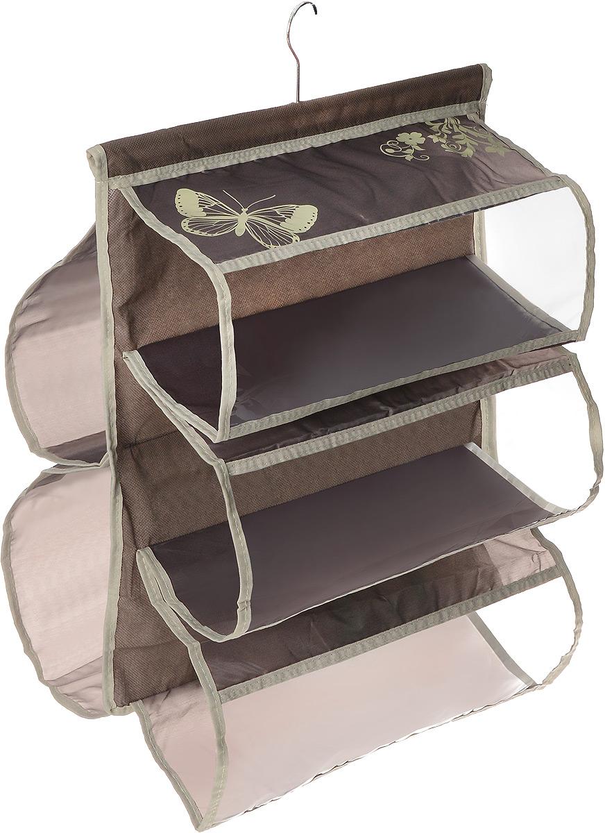 Чехол для хранения сумок Hausmann , 5 отделений, 42 х 72 см4D-305PЧехол для хранения сумок Hausmann изготовлен из полиэстера. Изделие имеет 5 отделений, его можно повесить в удобное место за крючок, который крепиться к деревянной перекладине. Чехол для хранения сумок Hausmann экономит место в шкафу и сохраняет порядок в доме. Практичный и удобный чехол для хранения сумок.Размер чехла: 42 х 72 см.