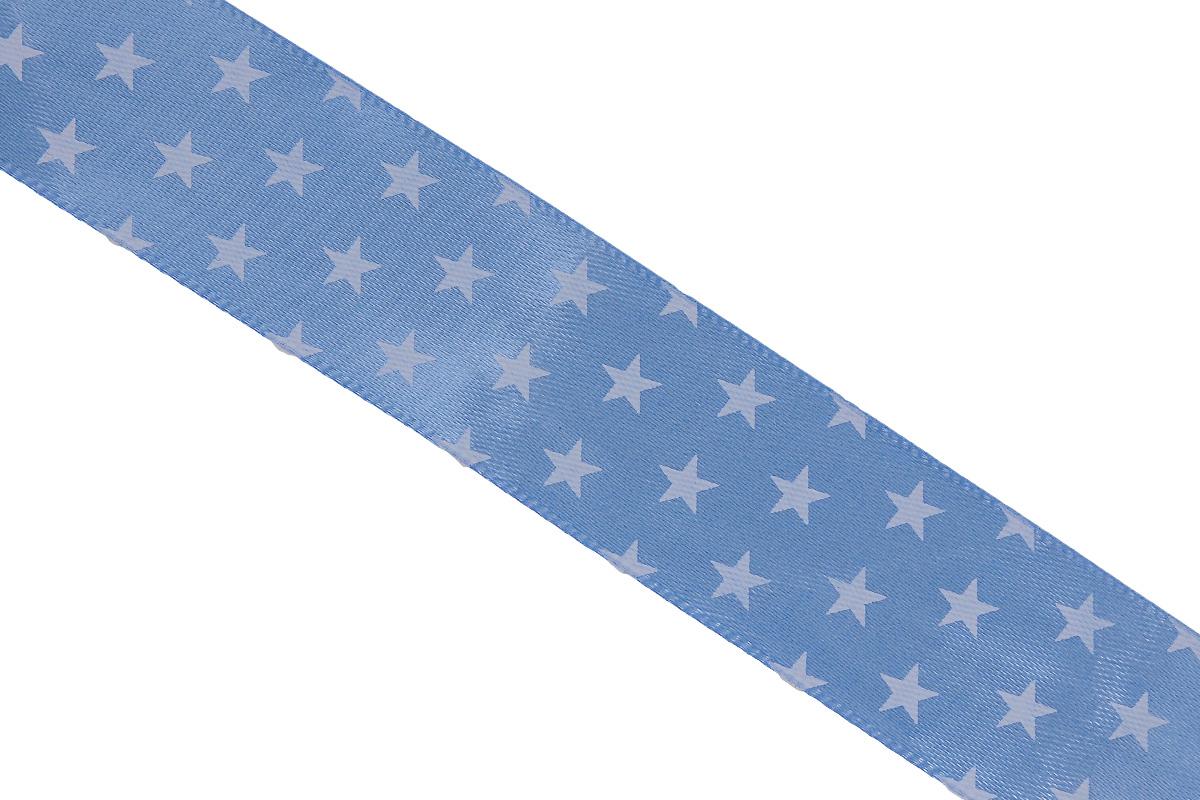Лента атласная Dekor Line Звездочки, цвет: голубой, белый, 2,5 х 300 см19201Атласная лента Dekor Line Звездочки выполнена из высококачественного полиэстера. Область применения атласной ленты весьма широка. Лента предназначена для оформления цветочных букетов, подарочных коробок, пакетов. Кроме того, она с успехом применяется для художественного оформления витрин, праздничного оформления помещений, изготовления искусственных цветов. Ее также можно использовать для творчества в различных техниках, таких как скрапбукинг, оформление аппликаций, для украшения фотоальбомов, подарков, конвертов, фоторамок, открыток и прочего.Ширина ленты: 2,5 см.Длина ленты: 3 м.