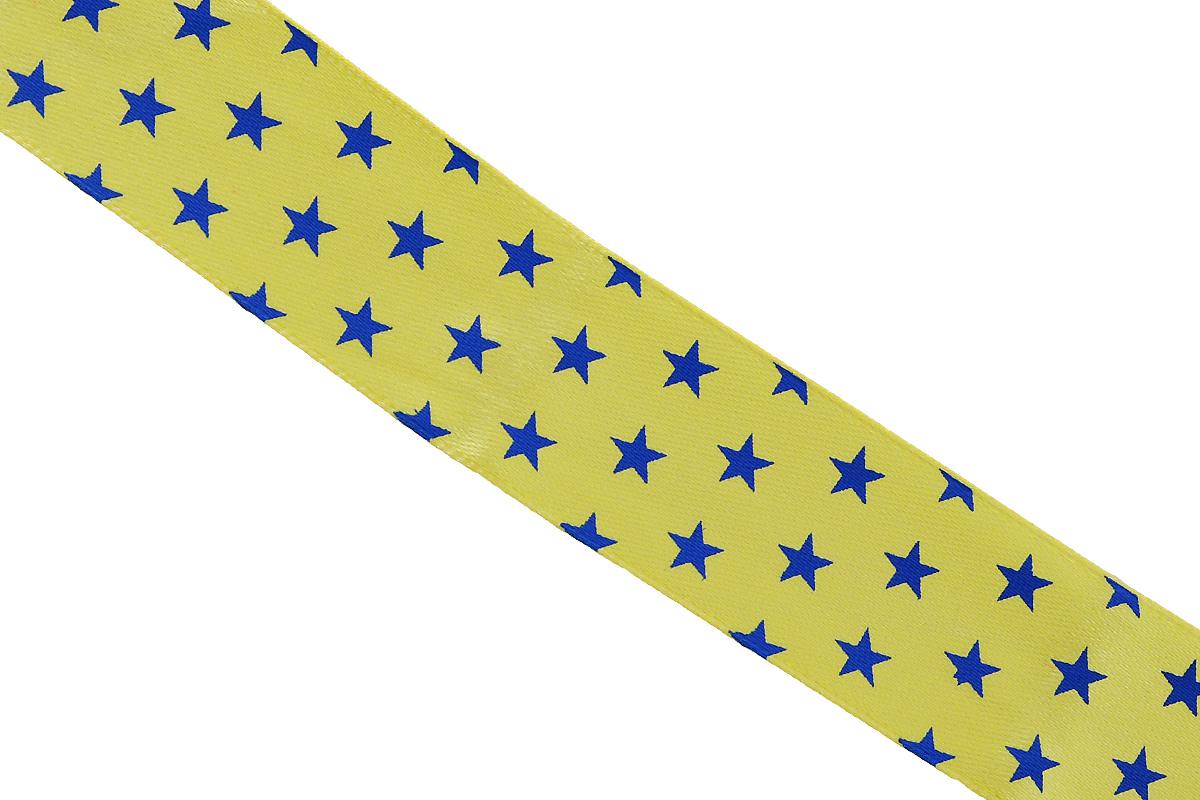 Лента атласная Dekor Line Звездочки, цвет: желтый, синий, 2,5 х 300 см697068_69Атласная лента Dekor Line Звездочки выполнена из высококачественного полиэстера. Область применения атласной ленты весьма широка. Лента предназначена для оформления цветочных букетов, подарочных коробок, пакетов. Кроме того, она с успехом применяется для художественного оформления витрин, праздничного оформления помещений, изготовления искусственных цветов. Ее также можно использовать для творчества в различных техниках, таких как скрапбукинг, оформление аппликаций, для украшения фотоальбомов, подарков, конвертов, фоторамок, открыток и прочего.Ширина ленты: 2,5 см.Длина ленты: 3 м.