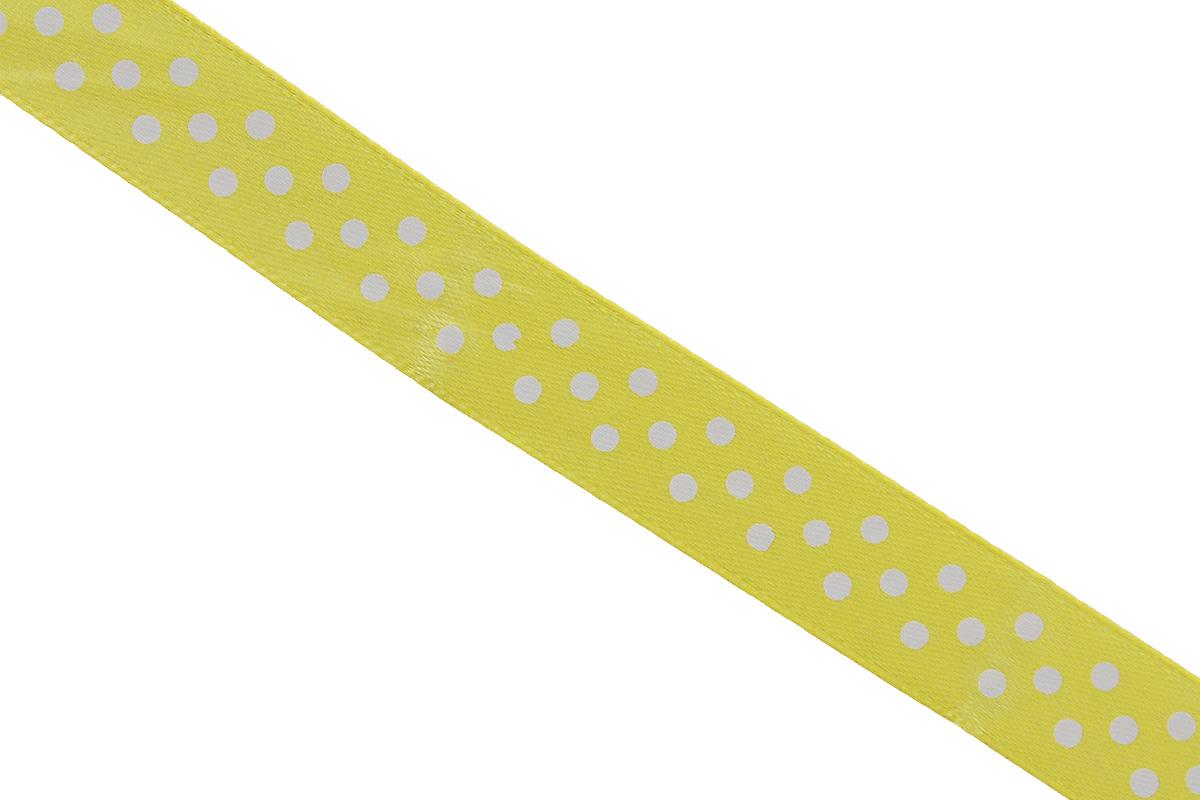 Лента атласная Dekor Line Горошек, цвет: желтый, белый, 1,5 х 300 см55052Атласная лента Dekor Line Горошек выполнена из высококачественного полиэстера. Область применения атласной ленты весьма широка. Лента предназначена для оформления цветочных букетов, подарочных коробок, пакетов. Кроме того, она с успехом применяется для художественного оформления витрин, праздничного оформления помещений, изготовления искусственных цветов. Ее также можно использовать для творчества в различных техниках, таких как скрапбукинг, оформление аппликаций, для украшения фотоальбомов, подарков, конвертов, фоторамок, открыток и прочего.Ширина ленты: 1,5 см.Длина ленты: 3 м.