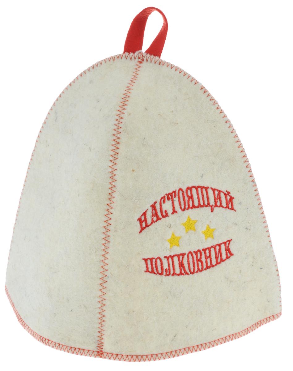 Шапка для бани и сауны Главбаня Настоящий полковник, войлок531-401Банная шапка Главбаня Настоящий полковник изготовлена из высококачественного войлока и декорирована изображением трех звезд и надписью Настоящий полковник. Банная шапка - это незаменимый аксессуар для любителей попариться в русской бане и для тех, кто предпочитает сухой жар финской бани. Кроме того, шапка защитит волосы от сухости и ломкости, голову от перегрева и предотвратит появление головокружения. На шапке имеется петелька, с помощью которой ее можно повесить на крючок в предбаннике. Такая шапка станет отличным подарком для любителей отдыха в бане или сауне.Обхват головы: 70 см.Высота шапки: 24 см.
