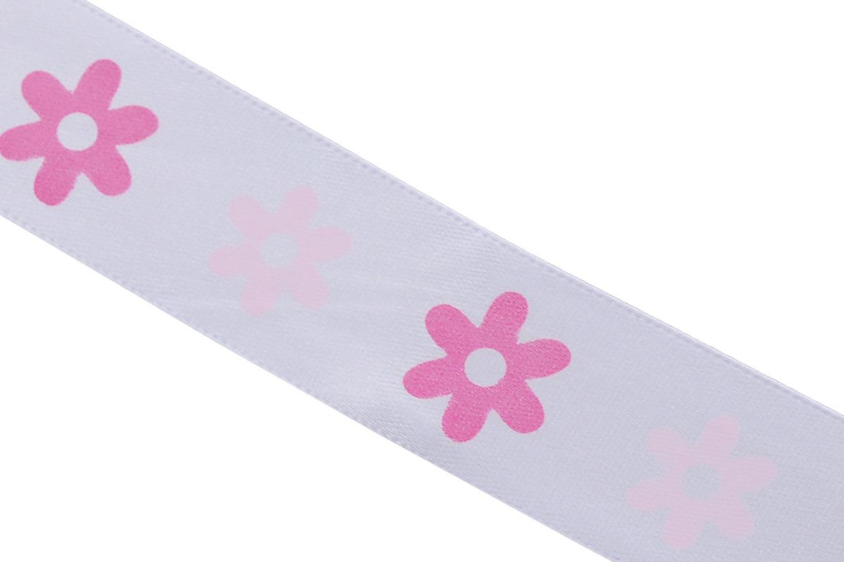 Лента атласная Dekor Line Цветочки, цвет: белый, розовый, 2,5 х 300 смSZ-14Атласная лента Dekor Line Цветочки выполнена из высококачественного полиэстера. Область применения атласной ленты весьма широка. Лента предназначена для оформления цветочных букетов, подарочных коробок, пакетов. Кроме того, она с успехом применяется для художественного оформления витрин, праздничного оформления помещений, изготовления искусственных цветов. Ее также можно использовать для творчества в различных техниках, таких как скрапбукинг, оформление аппликаций, для украшения фотоальбомов, подарков, конвертов, фоторамок, открыток и прочего.Ширина ленты: 2,5 см.Длина ленты: 3 м.