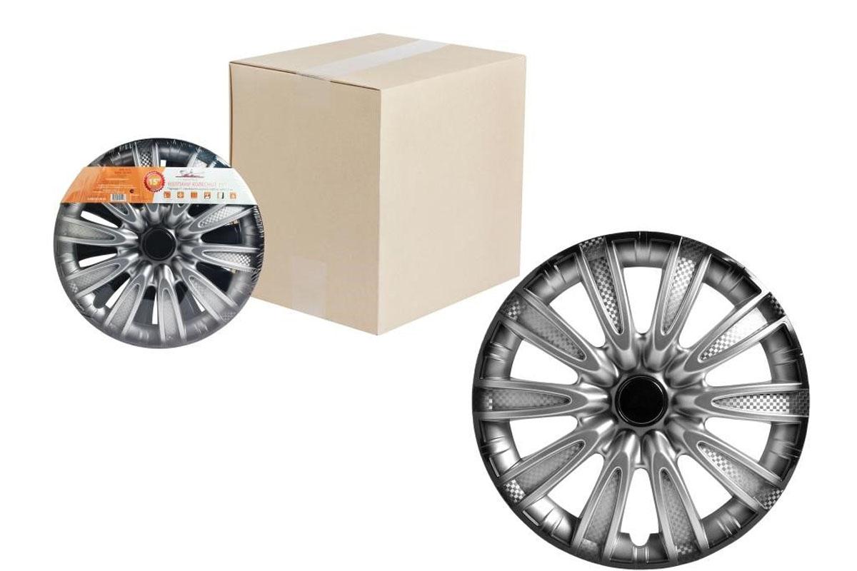 Колпаки колесные Airline Торнадо +, цвет: серебристо-черный, 15, 2 шт. AWCC-15-07K100Колпаки колесные Airline Торнадо + изготовлены из ударопрочного полистирола, имеют модную текстуру, имитирующую карбон, покрашены в популярные цвета, а также стойкие к повышенным и пониженным температурам. Колпаки снабжены надежными универсальными креплениями, позволяющими обеспечивать равномерное распределение давления на все защелки. Колпаки Airline защитят тормозную систему от грязи, соли и реагентов, скроют изъяны штампованных дисков, тем самым украсив ваш автомобиль.