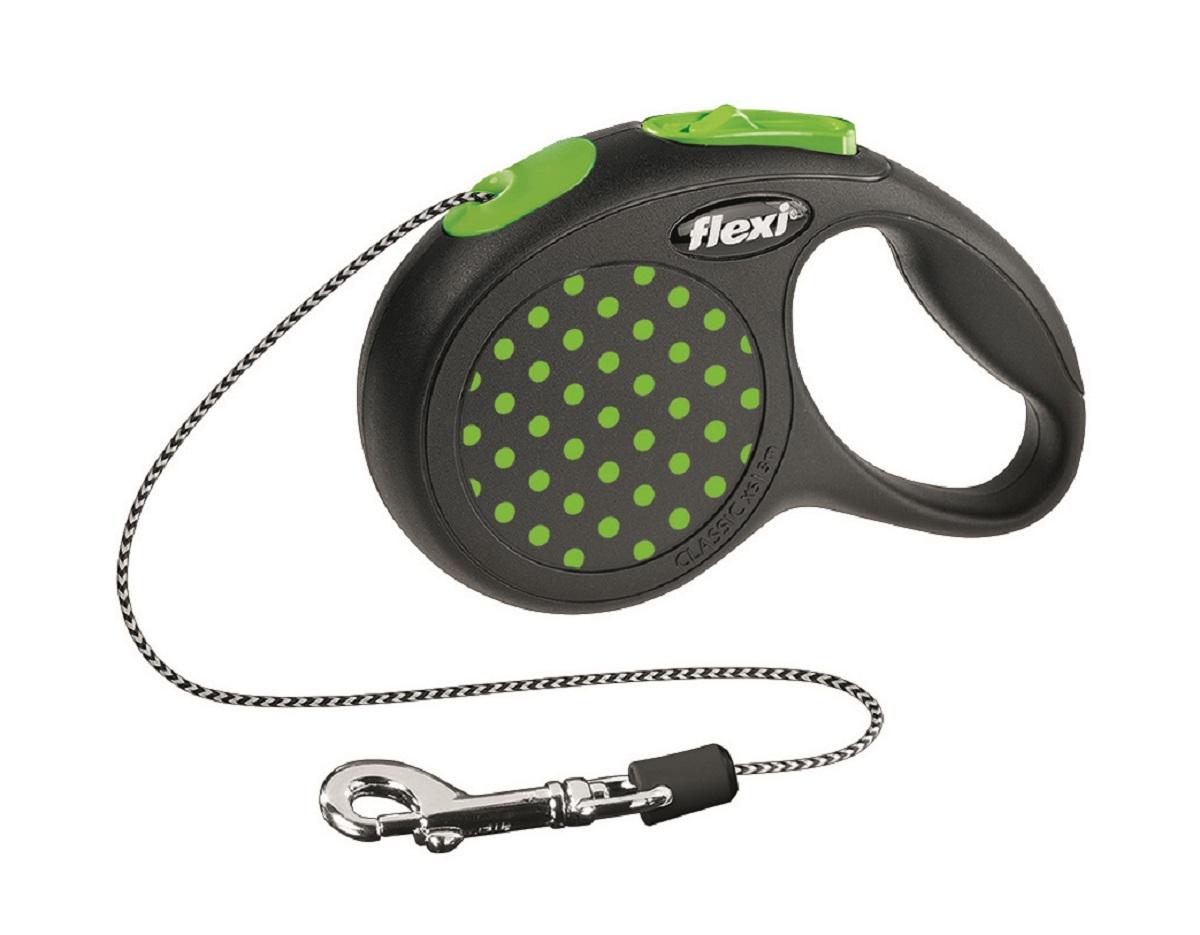 Рулетка Flexi Design XS (до 8 кг) 3 м трос черный / зеленый горох0120710Тросовый поводок-рулетка предназначен для выгула собак весом до 8 кг.Рулетки FLEXI производятся в Германии более 40 лет и особое внимание уделяется обеспечению безопасности и комфорта использования:- обновленная эргономичная кнопка системы торможения- запатентованная тормозная система - надежный карабинЗапатентованая система сматывания и фиксации длины — дополнительное удобство, помогающее контролировать поведение животного. Корпус рулетки выполнен из ударопрочного пластика.Рулетка очень легка в применении, принесет вам еще большую радость от моментов, проведенных с любимцем.Длина 3 м, цвет черный в зеленый горошек.