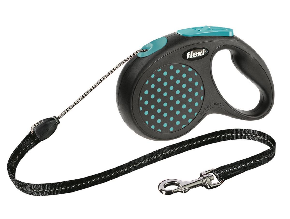 Поводок-рулетка Flexi Design S для собак до 15 кг, цвет: черный, голубой, 5 м0120710Тросовый поводок-рулетка предназначен для выгула собак весом до 15 кг.Рулетки FLEXI производятся в Германии более 40 лет и особое внимание уделяется обеспечению безопасности и комфорта использования:- обновленная эргономичная кнопка системы торможения- запатентованная тормозная система - надежный карабин.Запатентованая система сматывания и фиксации длины - дополнительное удобство, помогающее контролировать поведение животного. Корпус рулетки выполнен из ударопрочного пластика.Рулетка очень легка в применении, принесет вам еще большую радость от моментов, проведенных с любимцем.