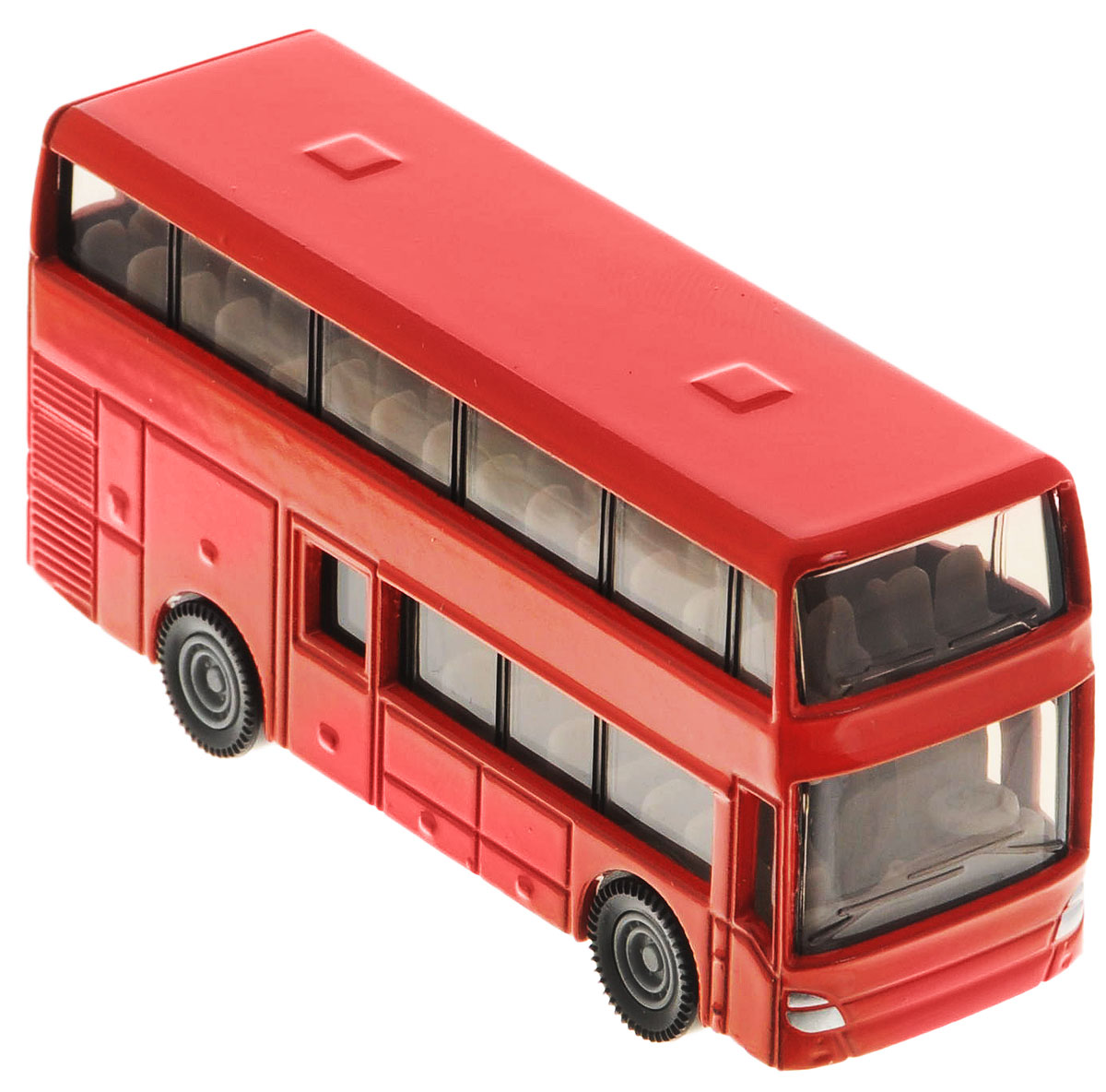 """Двухэтажный автобус от """"Siku"""" станет замечательным подарком для автолюбителей всех возрастов. Модель представляет собой реалистичную копию двухэтажного автобуса и отличается высокой степенью детализации. Корпус модели выполнен из металла, детали изготовлены из ударопрочной пластмассы. Салон автобуса также тщательно проработан, внутри есть водительское сиденье с рулем и места для пассажиров. Автобус можно катать благодаря подвижным колесам. Ваш ребенок часами будет играть с такой игрушкой, придумывая различные истории."""