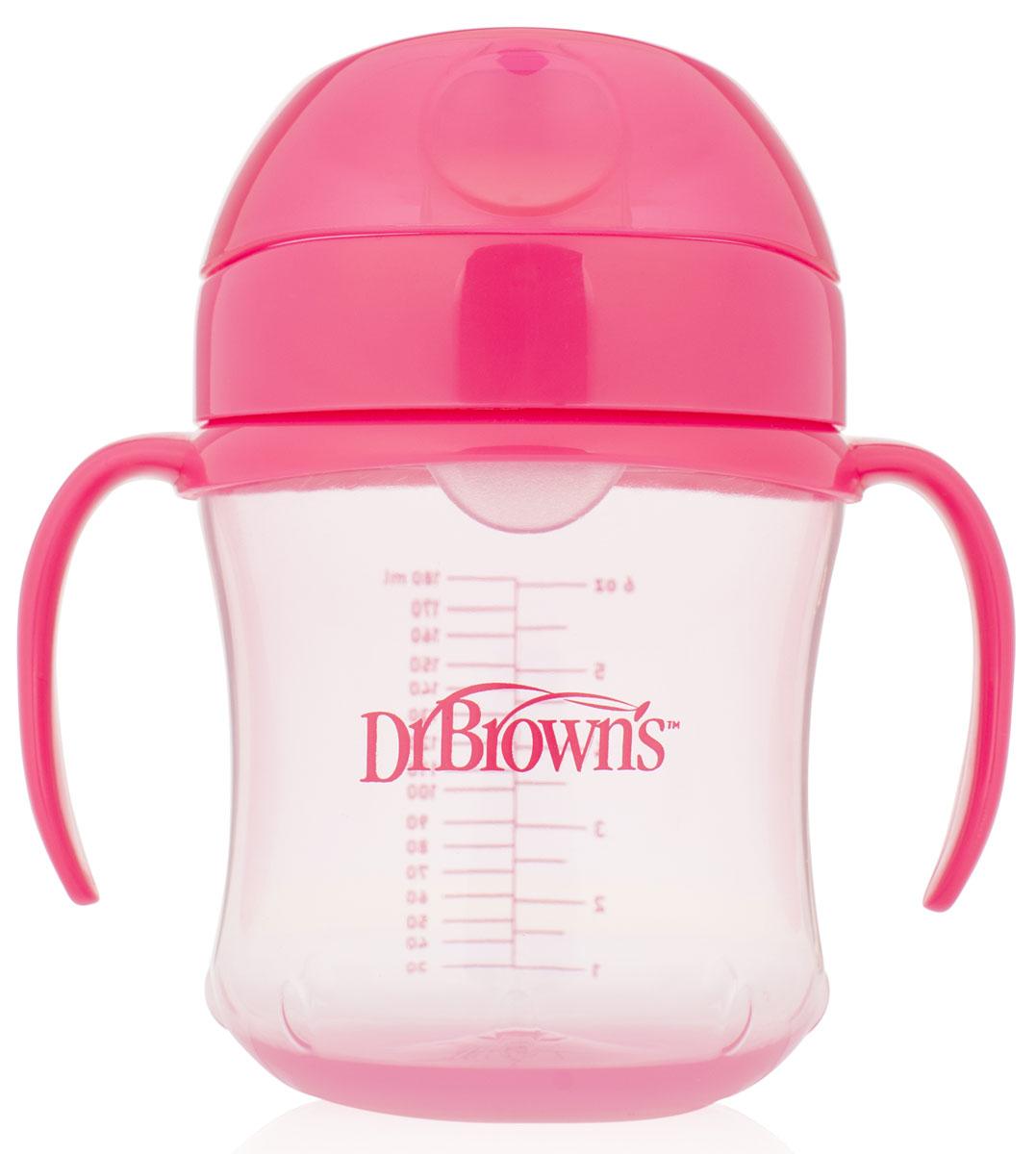 Dr.Brown's Поильник-непроливайка с мягким носиком от 6 месяцев цвет розовый 180 мл