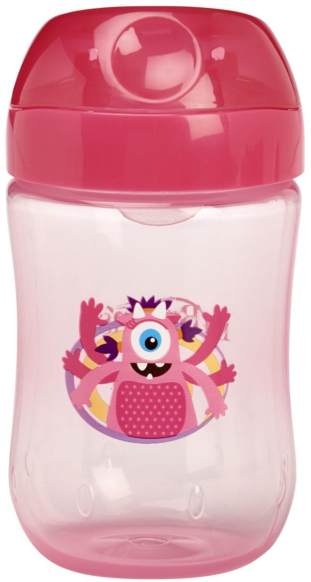 Dr.Brown's Чашка-непроливайка 270 мл с мягким носиком и откидывающейся крышкой 9+ месяцев Розовый Монстр