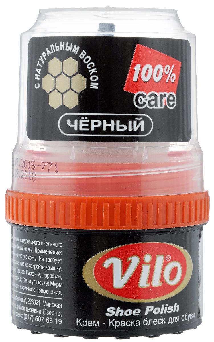 Крем-краска для обуви Vilo, с аппликатором, цвет: черный, 60 мл17580Крем-краска с аппликатором Vilo выполнен на основе натурального пчелиного воска и обеспечит надежную защиту и блеск для обуви. Крем необходимо наносить равномерно тонким слоем на чистую кожу. Он не требует дополнительной полировки. Одна упаковка окрасит 50 пар обуви. Состав: парфюм, парафин, воски, пигмент, смолы.Размер аппликатора: 4 х 3 х 4,5 см.Объем: 60 мл.