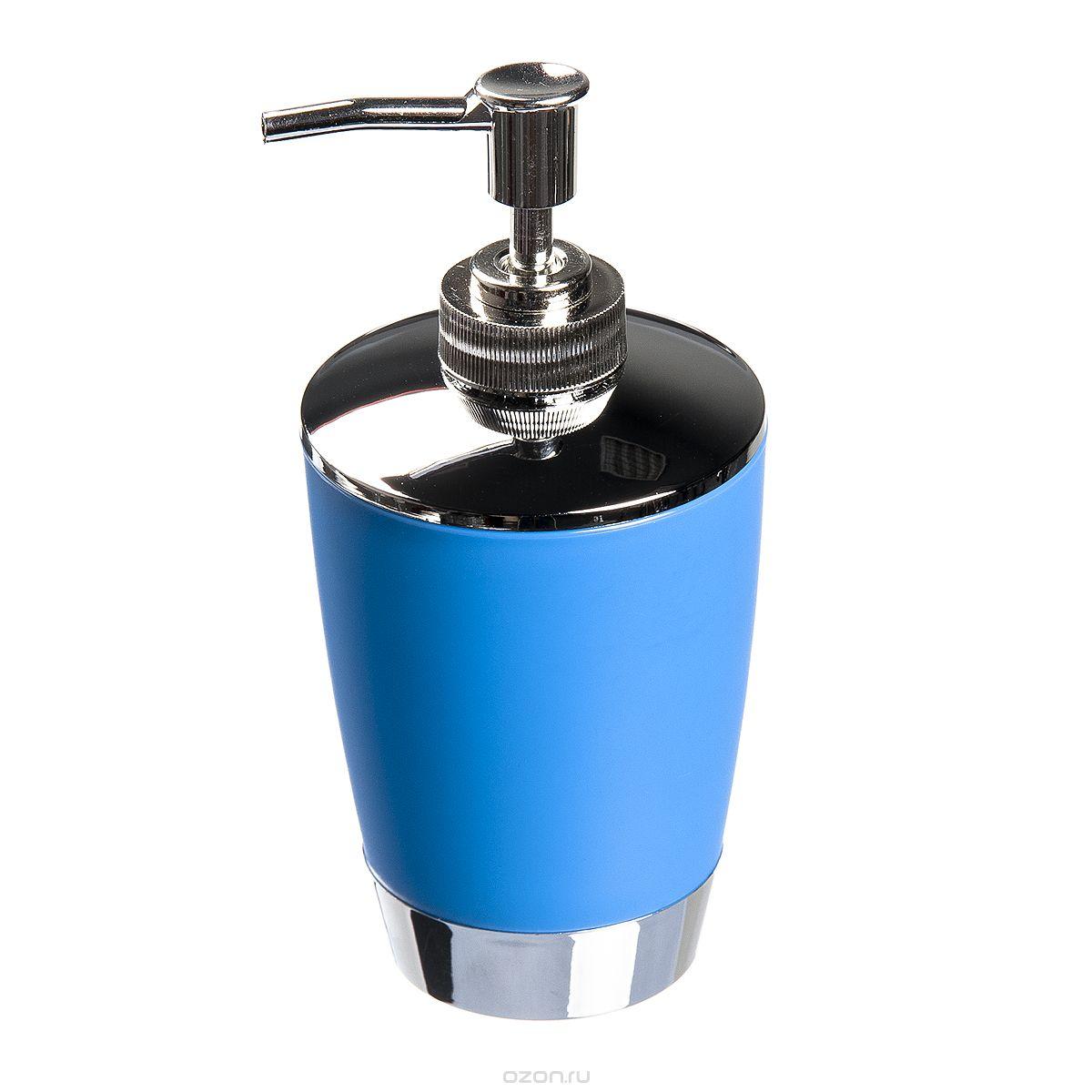 Диспенсер для жидкого мыла Fresh Code Настроение, цвет: голубой, 300 мл41619Диспенсер для жидкого мыла Fresh Code Настроение изготовлен из высокопрочного полипропилена с нескользящим покрытием. Изделие выполнено в строгой классической форме и дополнено элементами цвета металлик. Диспенсер для мыла очень удобен в использовании: просто надавите сверху, и из диспенсера выльется необходимое количество мыла.Диспенсер для жидкого мыла Fresh Code Настроение стильно украсит интерьер, а также добавит в обычную обстановку яркие и модные акценты.