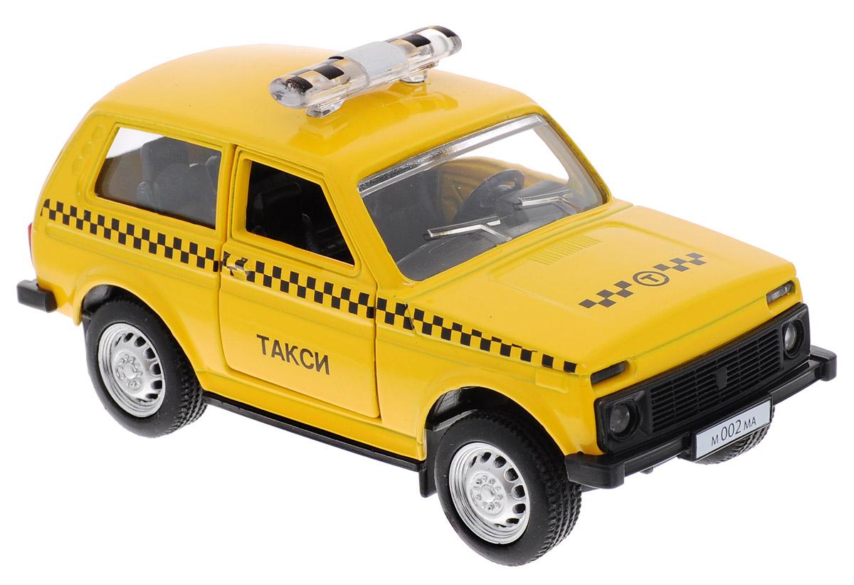 """Модель автомобиля ТехноПарк """"Lada 4х4. Такси"""", выполненная из пластика и металла, станет любимой игрушкой вашего малыша. Машинка представляет собой модель автомобиля такси марки Лада. Дверцы кабины открываются. Игрушка оснащена инерционным ходом. Машинку необходимо отвести назад, затем отпустить - и она быстро поедет вперед. Прорезиненные колеса обеспечивают надежное сцепление с любой гладкой поверхностью. Ваш ребенок будет часами играть с этой машинкой, придумывая различные истории. Порадуйте его таким замечательным подарком!"""