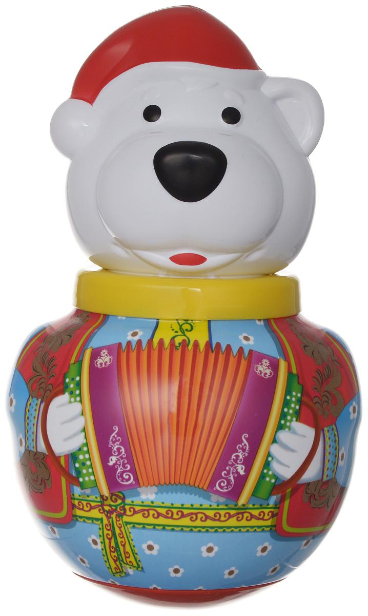 Stellar Неваляшка Белый медведь Борис с гармошкой цвет голубой медведь в одежде