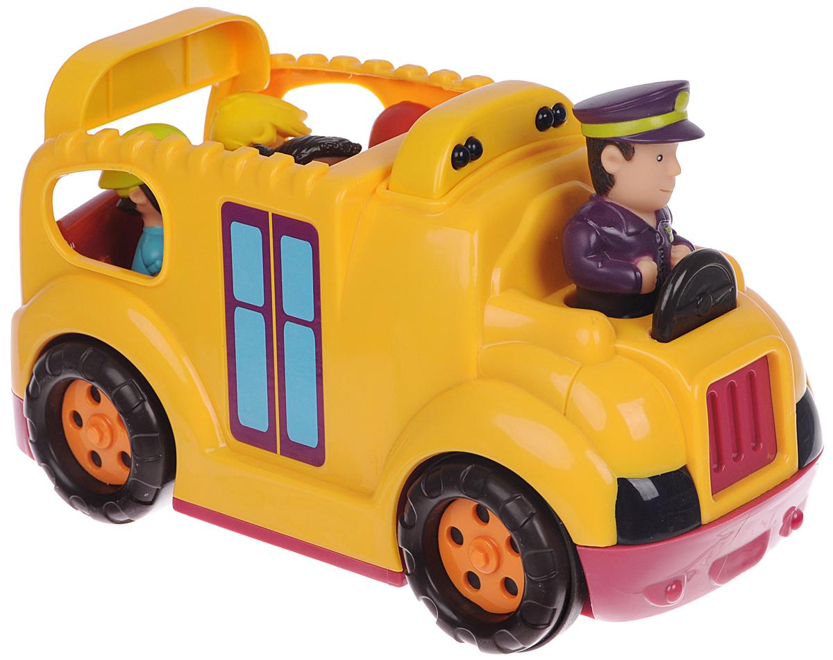 """Автобус с пассажирами Battat """"Буги Бас"""" привлечет внимание вашего ребенка и не позволит ему скучать! Набор включает в себя школьный автобус со звуковыми и световыми эффектами, фигурку водителя и четыре фигурки детей. Если нажать на фигурку водителя, то автобус заведется и поедет. Фары и бортовые огни будут мигать. Во время движения воспроизводится звук работающего двигателя, клаксон, городской шум. Натолкнувшись на препятствие, автобус остановится и поедет назад. Задняя дверца автобуса опускается. Ваш ребенок с удовольствием будет играть с таким набором, придумывая различные истории. Рекомендуется для детей от 18 месяцев до 5 лет. Для работы игрушки необходимы 3 батарейки типа АА (товар комплектуется демонстрационными)."""