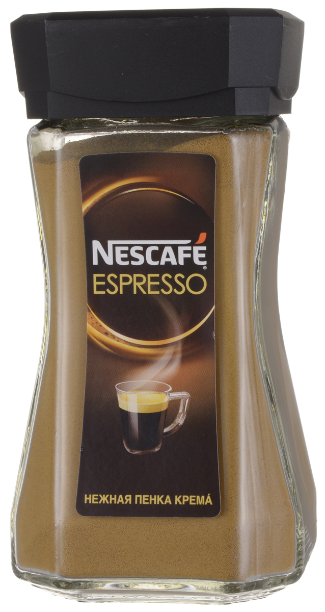 Nescafe Espresso кофе растворимый, 100 г0120710Nescafe Espresso создан для истинных ценителей настоящего итальянского эспрессо. 100% арабика с горных склонов Латинской Америки, Азии и Африки, а также глубокая итальянская обжарка придает кофе интенсивный вкус с тонкой фруктовой ноткой. Нежная золотистая пенка крема стойко сохраняет вкус и аромат Nescafe Espresso.