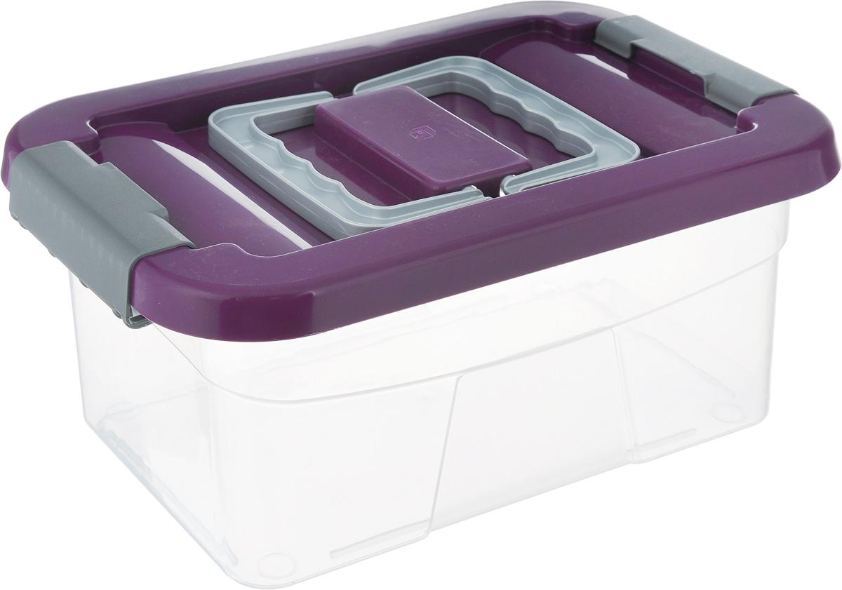 Контейнер хозяйственный Gensini, цвет: прозрачный, фиолетовый, 5 л2164Хозяйственный контейнер Gensini, выполненный из пластика, предназначен для надежного хранения вещей. Крышка контейнера закрывается по бокам на две защелки, которые предотвращают случайное открывание. Также на крышке имеются две складные ручки для удобной переноски.Размер: 29 х 19,5 х 13,5 см.