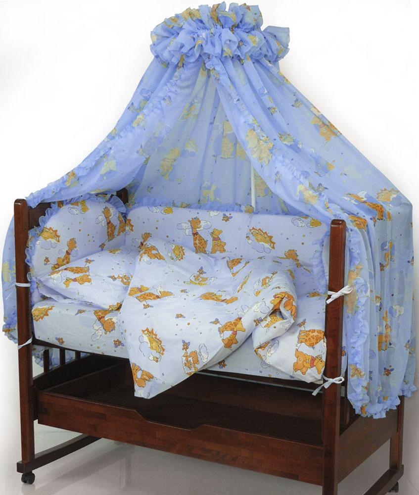 Топотушки Комплект белья для новорожденных Жираф Вилли цвет голубой 3 предмета531-401Комплект белья для новорожденных Топотушки Жираф Вилли выполнен в нежных тонах и украшен забавным рисунком. Комплект белья Жираф Вилли создаст комфорт и уют в кроватке малыша и обеспечит крепкий и здоровый сон, а современный дизайн и цветовые сочетания помогут ребенку адаптироваться в новом для него мире. Комплект белья для новорожденных Топотушки Жираф Вилли хорошо впишется в интерьер как детской комнаты, так и спальни родителей. Цветовые и дизайнерские решения - плоды совместных трудов европейских дизайнеров и российских технологов - делают внешний вид комплекта роскошным и незабываемым. Качество материала обеспечивает легкость стирки и долговечность. Комплект включает в себя наволочку 60 см х 40 см, пододеяльник 146 см х 104 см, простыню на резинке 60 см х 120 см.